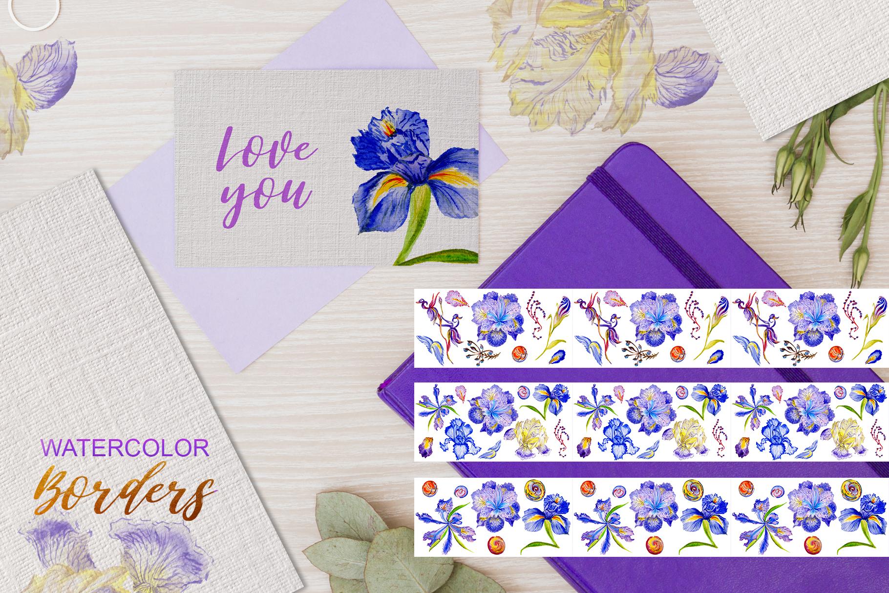 Iris blue Watercolor png example image 6