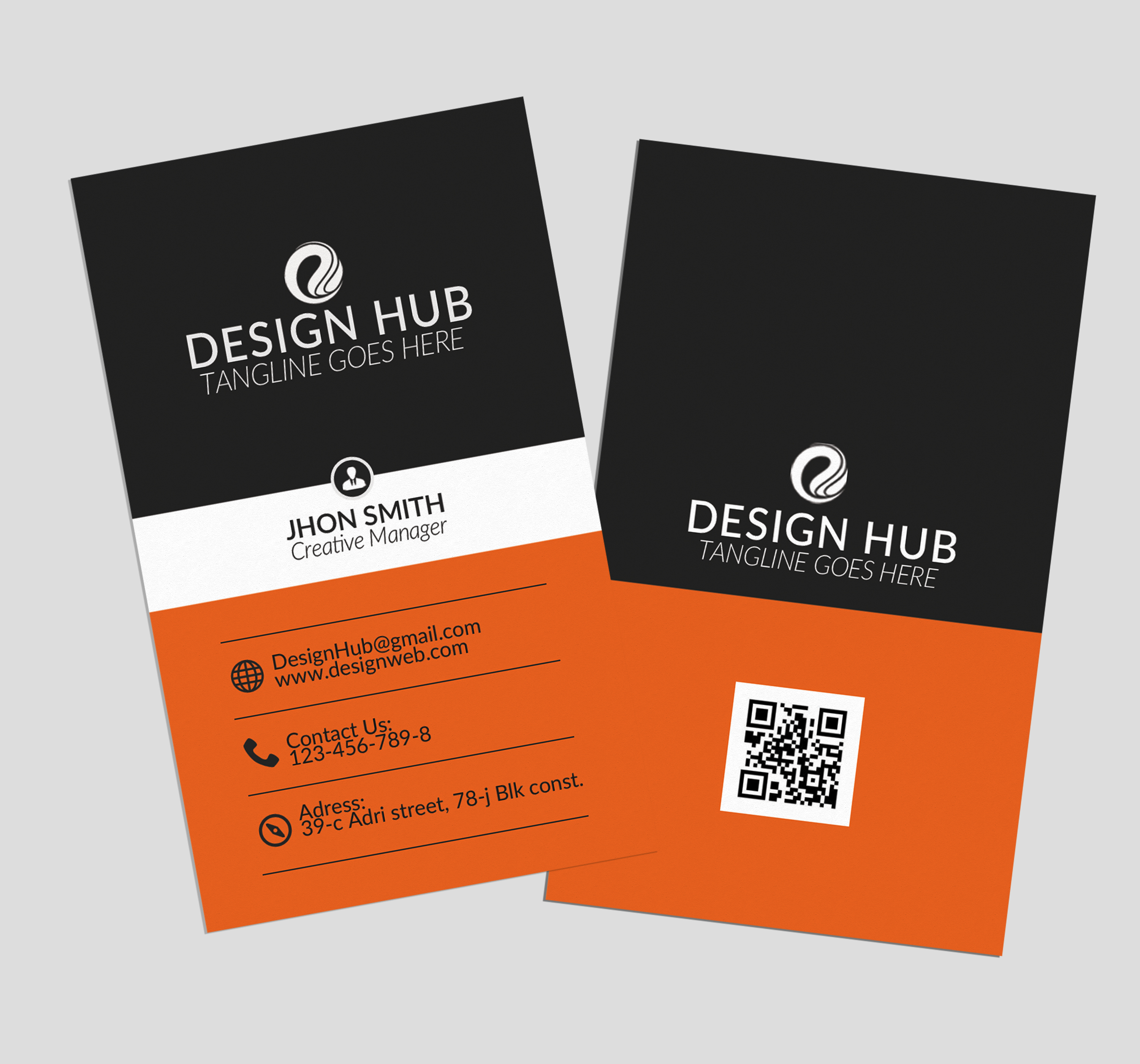 Vertical Business Cards Design example image 3