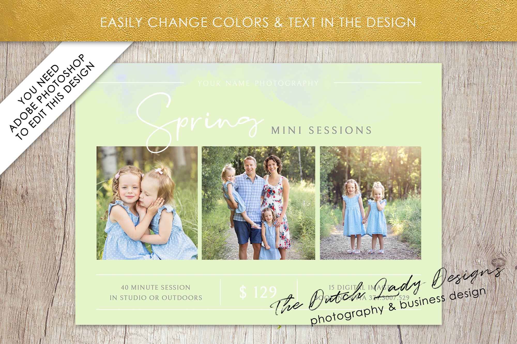 PSD Spring Photo Session Card Template - Design #38 example image 3