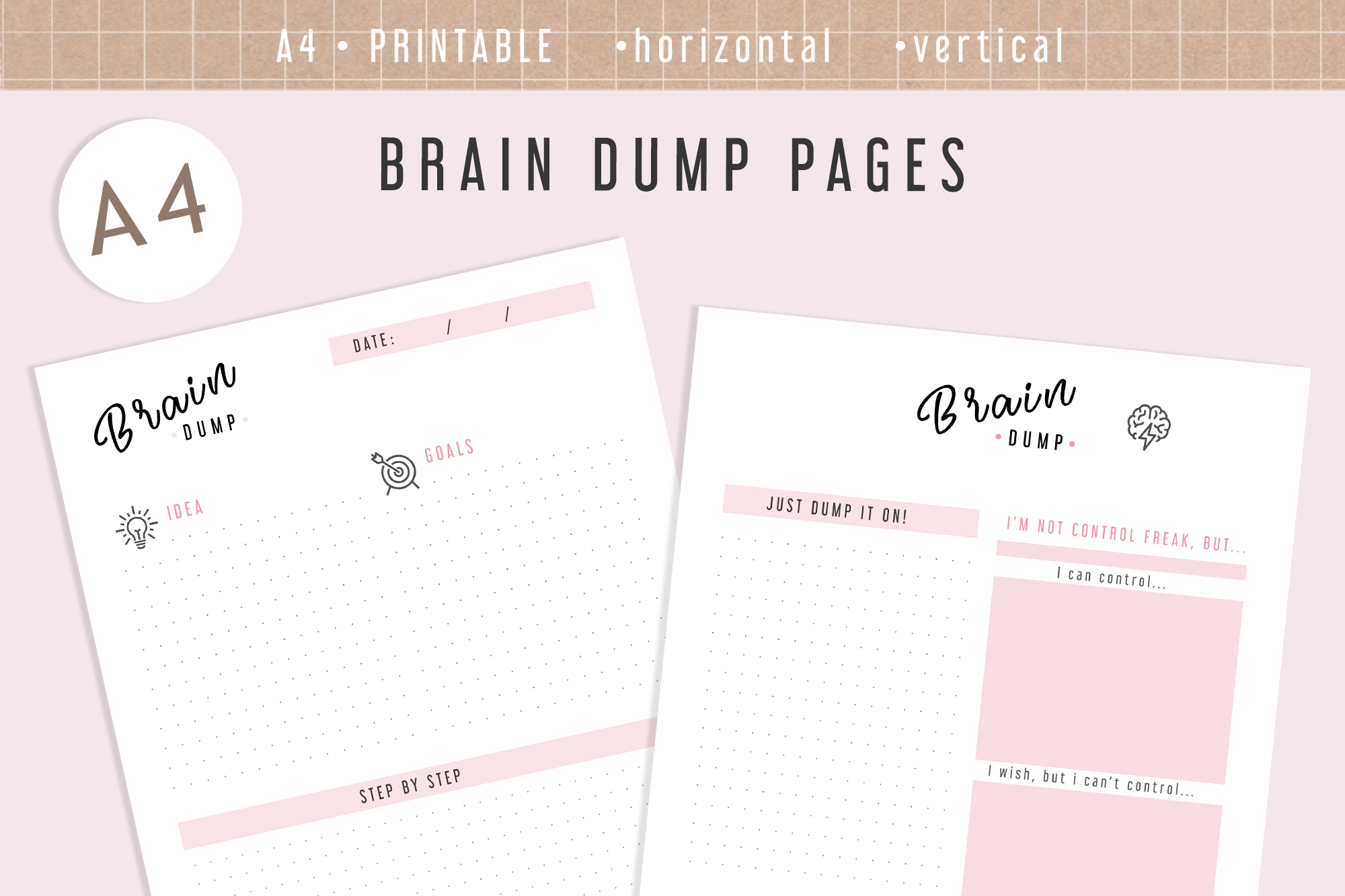 photograph regarding Brain Dump Printable called A4 Intellect Dump Inserts Printable Planner Internet pages Inserts