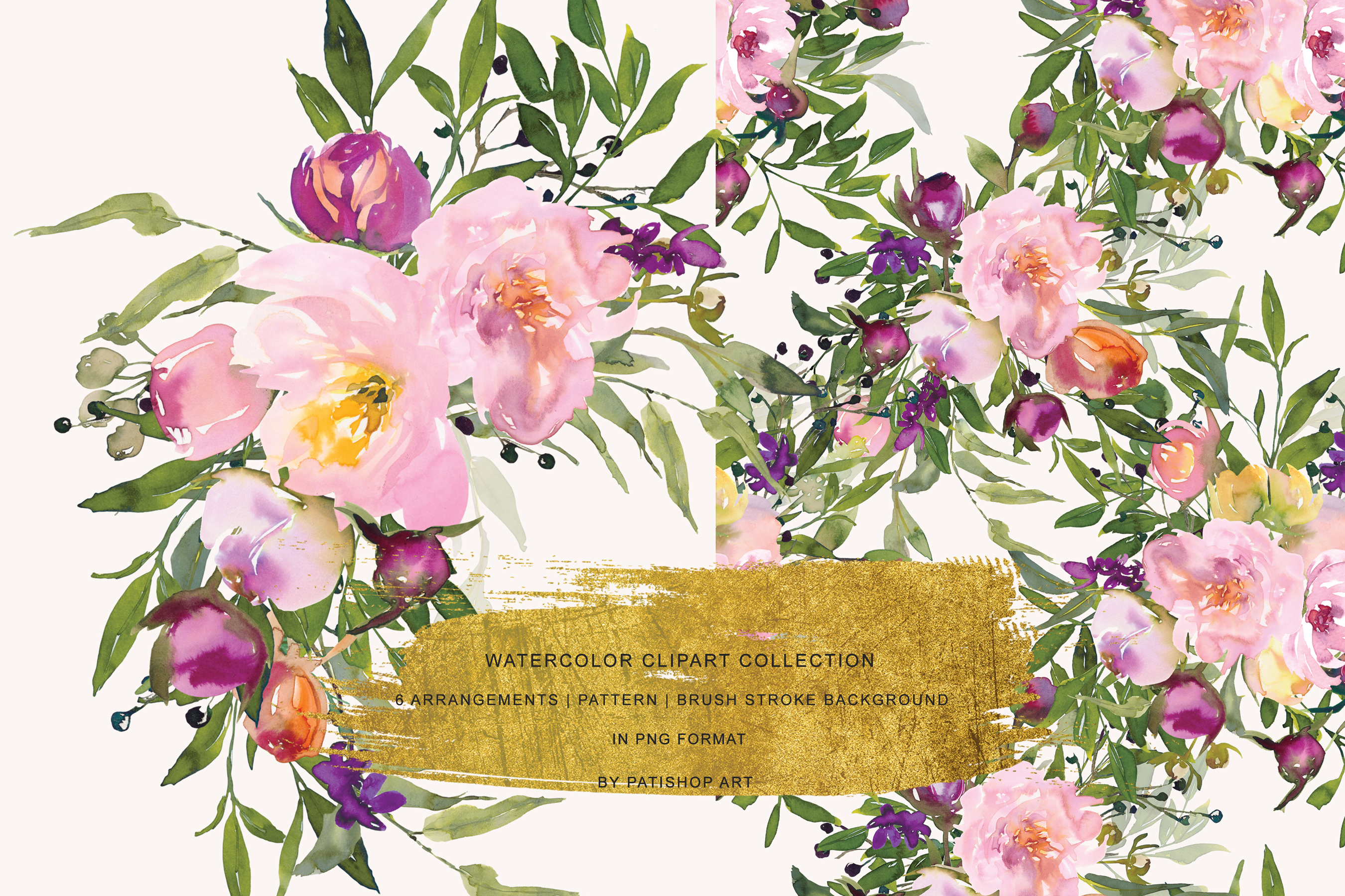 Watercolor Pink Peony Collection example image 5