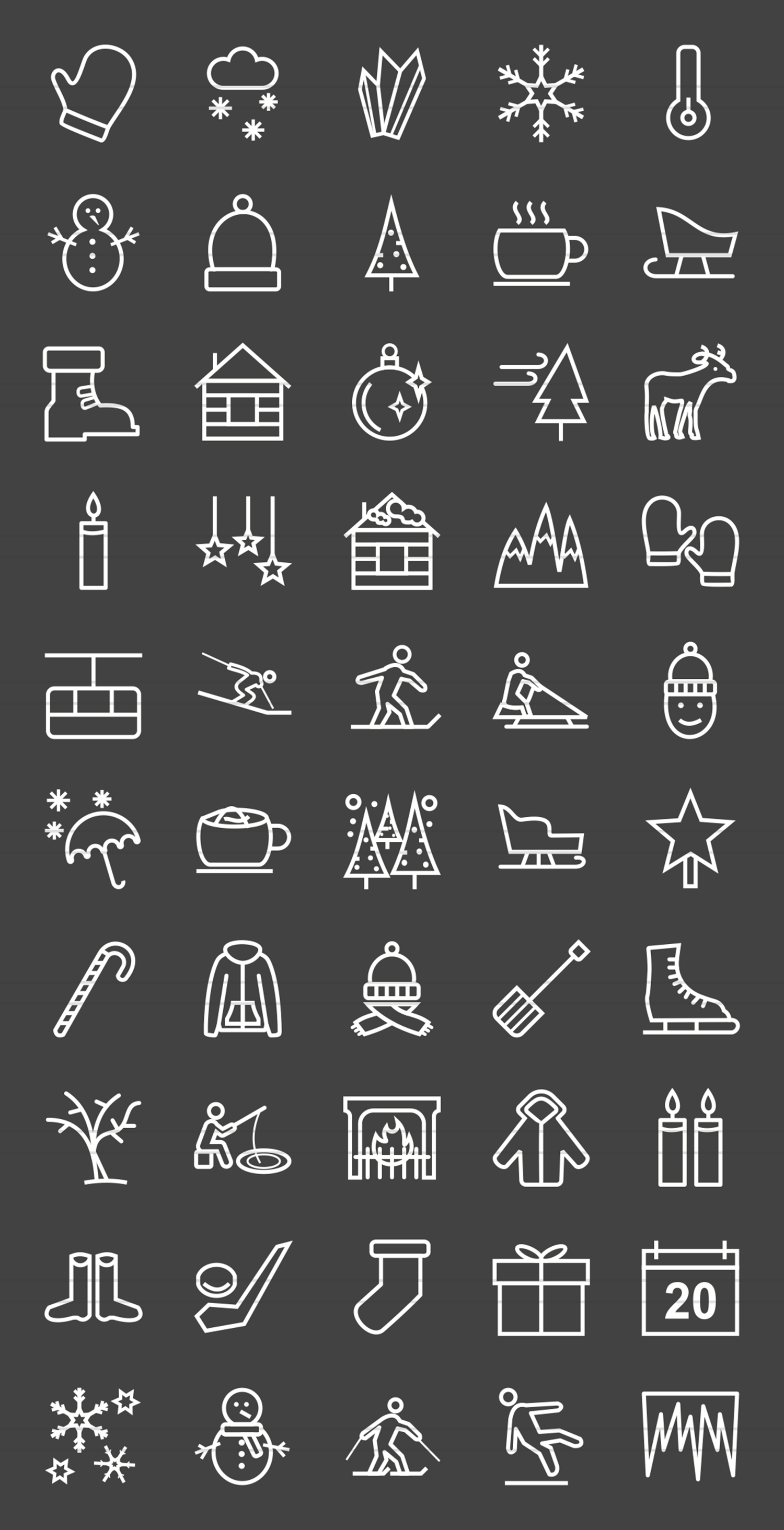 50 Winter Line Inverted Icons example image 2