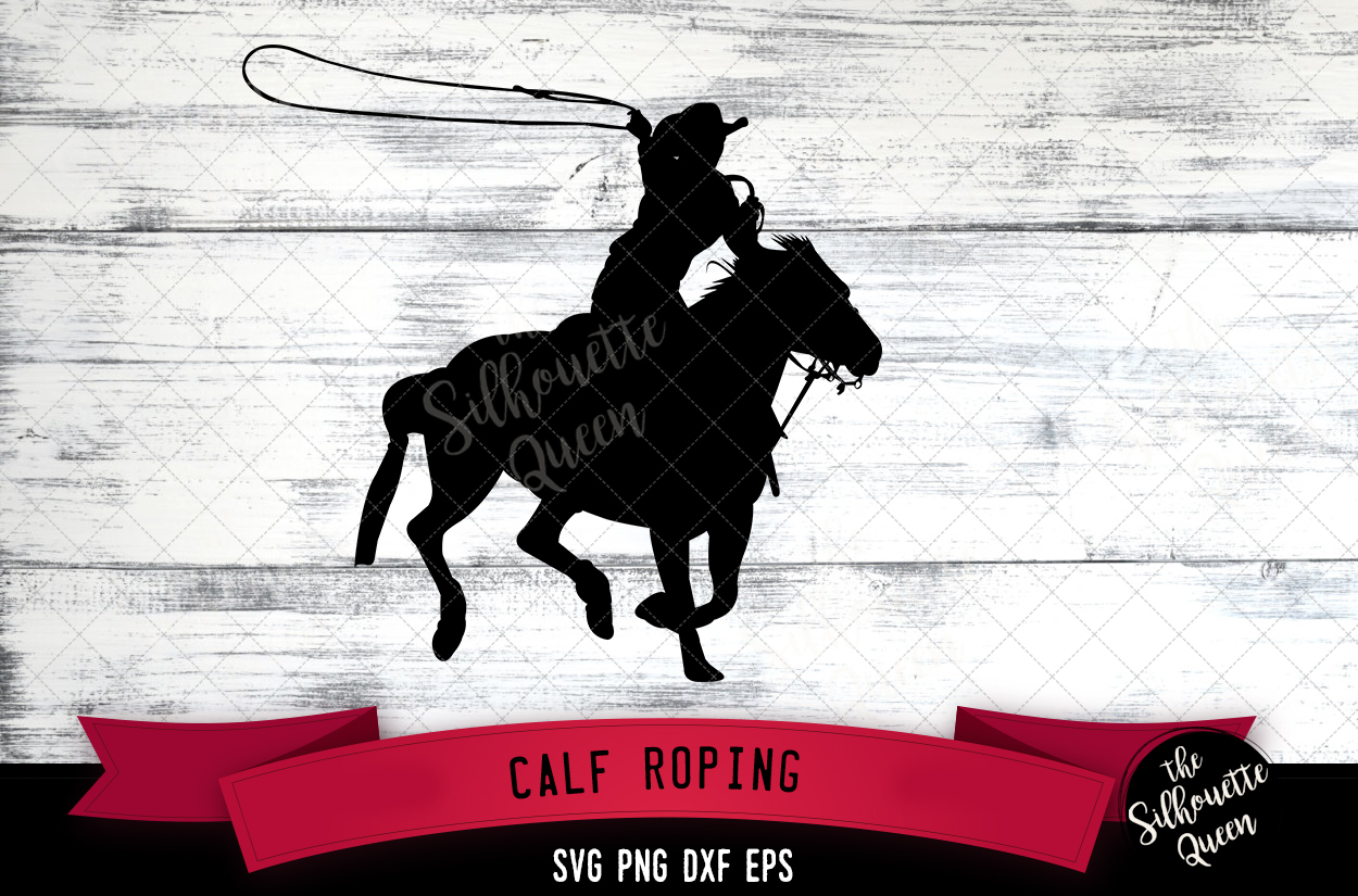 Calf Roping svg file, rodeo cowboy western svg cut file, example image 1