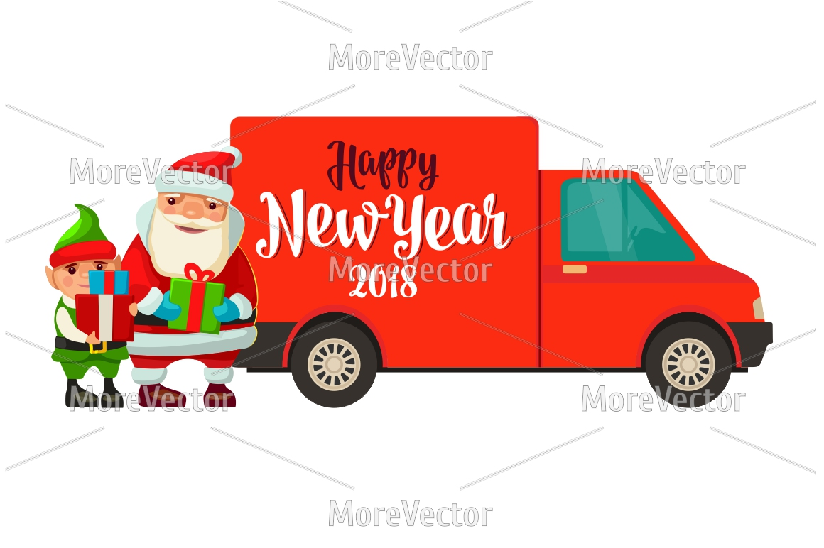 Logistic Santa Claus and elf with a gift. Forklift van taxi example image 2