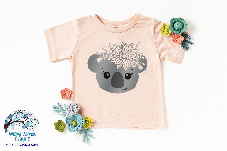 Floral Koala SVG | Girl Koala Face SVG Cut File example image 3