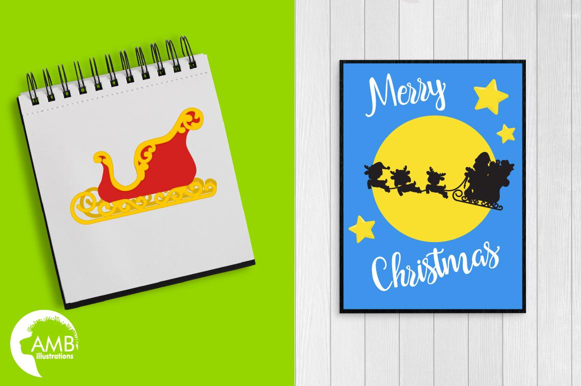 Santa's sleigh clipart, graphics, illustrations AMB-2294 example image 3
