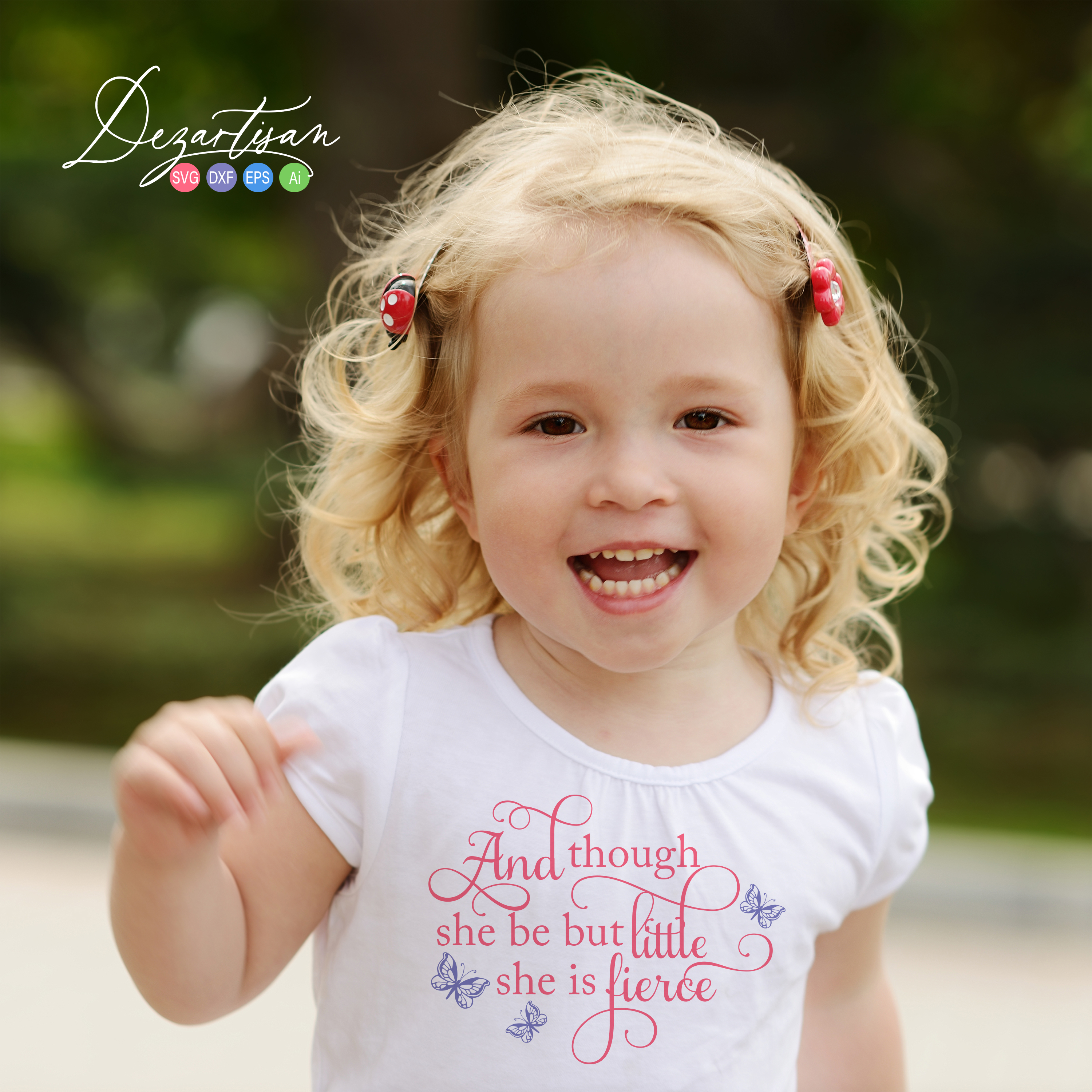 Though she be little she is fierce butterfly SVG | DXF example image 2