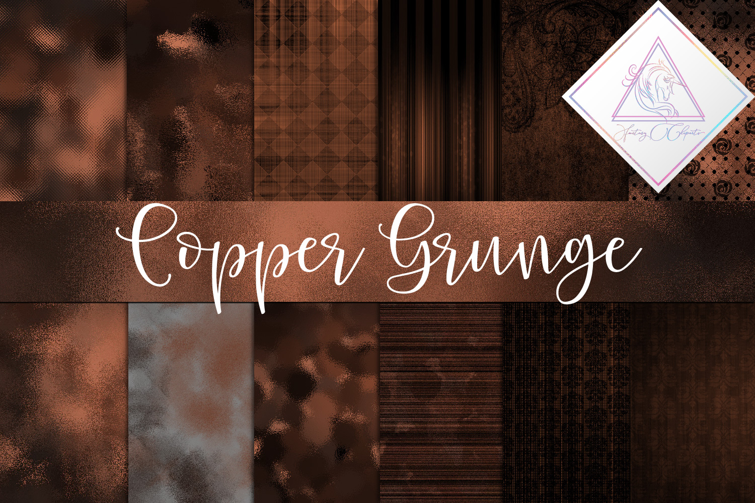 Grunge Copper Digital Paper example image 1
