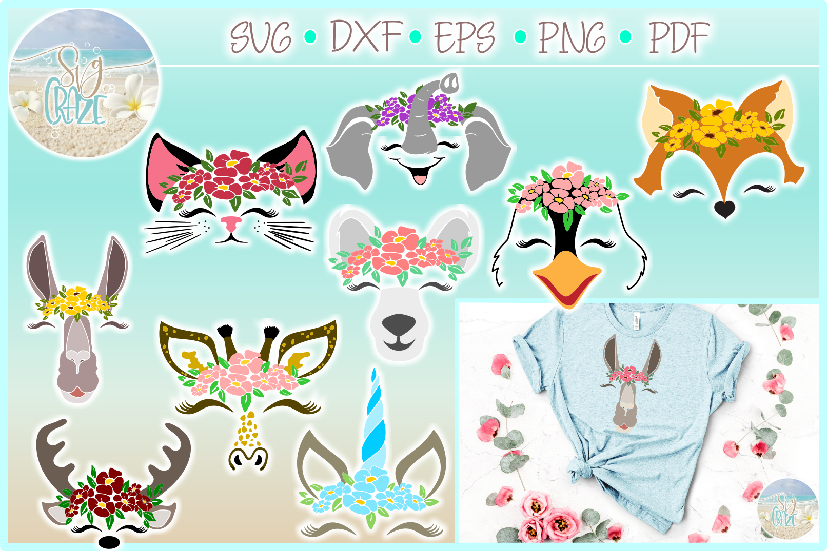 Animal Faces with Flowers Bundle SVG Dxf Eps Png PDF files example image 1