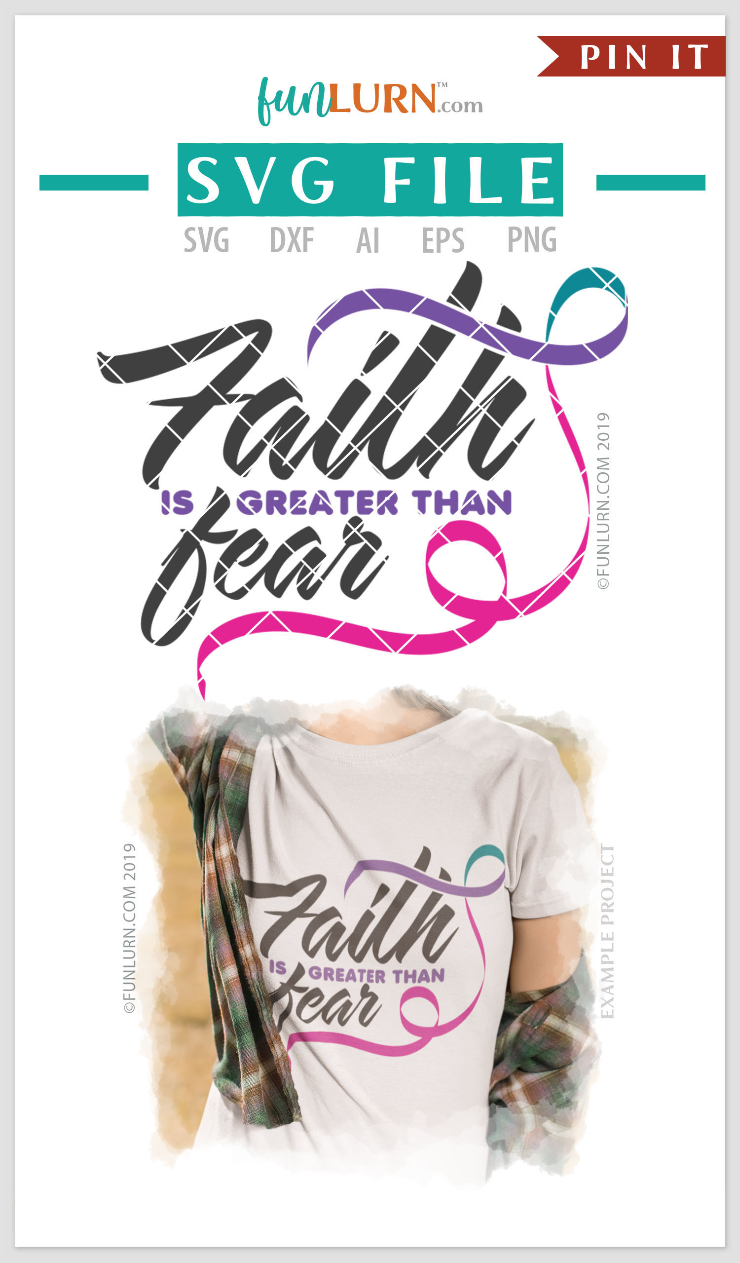Faith is Greater Than Fear Purple Teal Pink Ribbon SVG example image 4