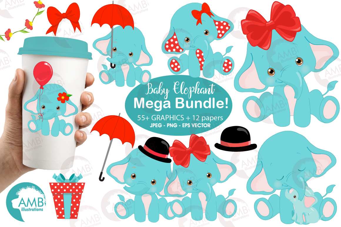 BABY ELEPHANT BUNDLE! 53 cliparts, graphics and illustrations and Patterns AMB-2273 example image 1