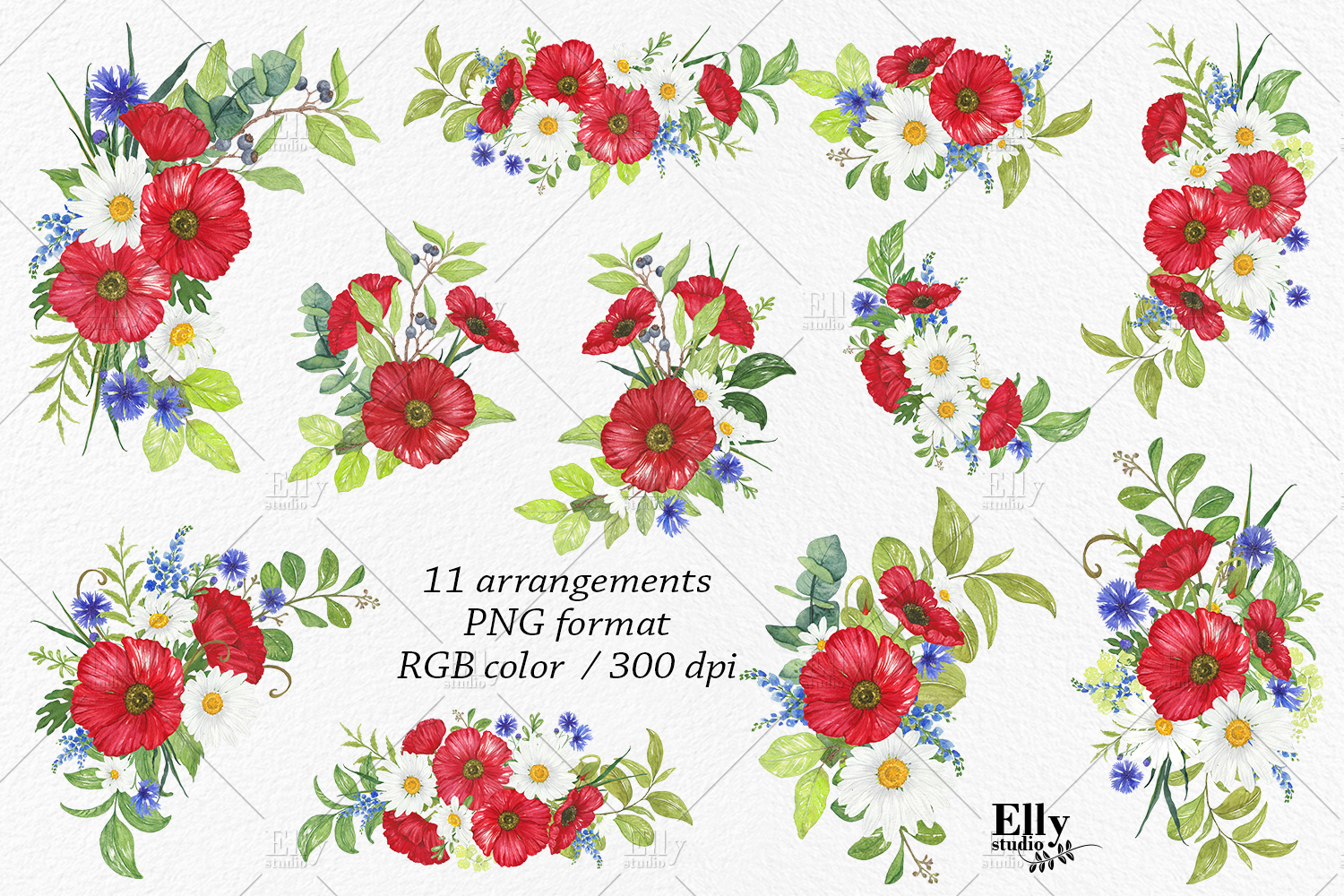 Watercolor Poppies Clipart Summer Flowers example image 2