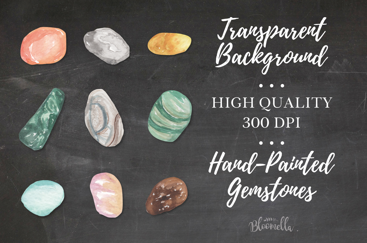 60 Gemstones Watercolor Elements Painted PNG Stones Crystals example image 4