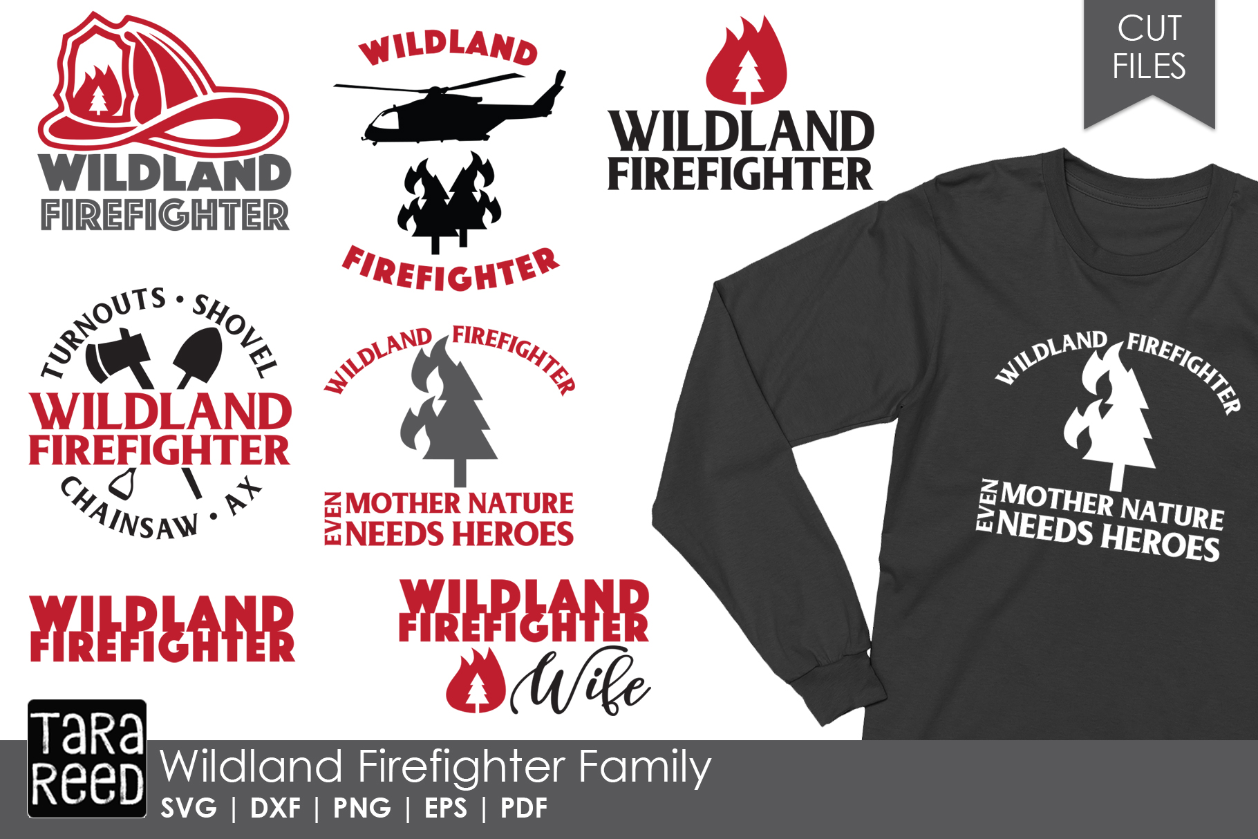 Wildland Firefighter - Firefighter SVG and Cut Files example image 1