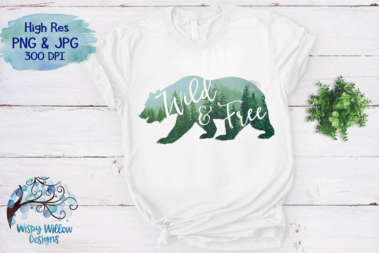 Wild & Free | Forest Bear PNG | Sublimation | Clipart example image 3