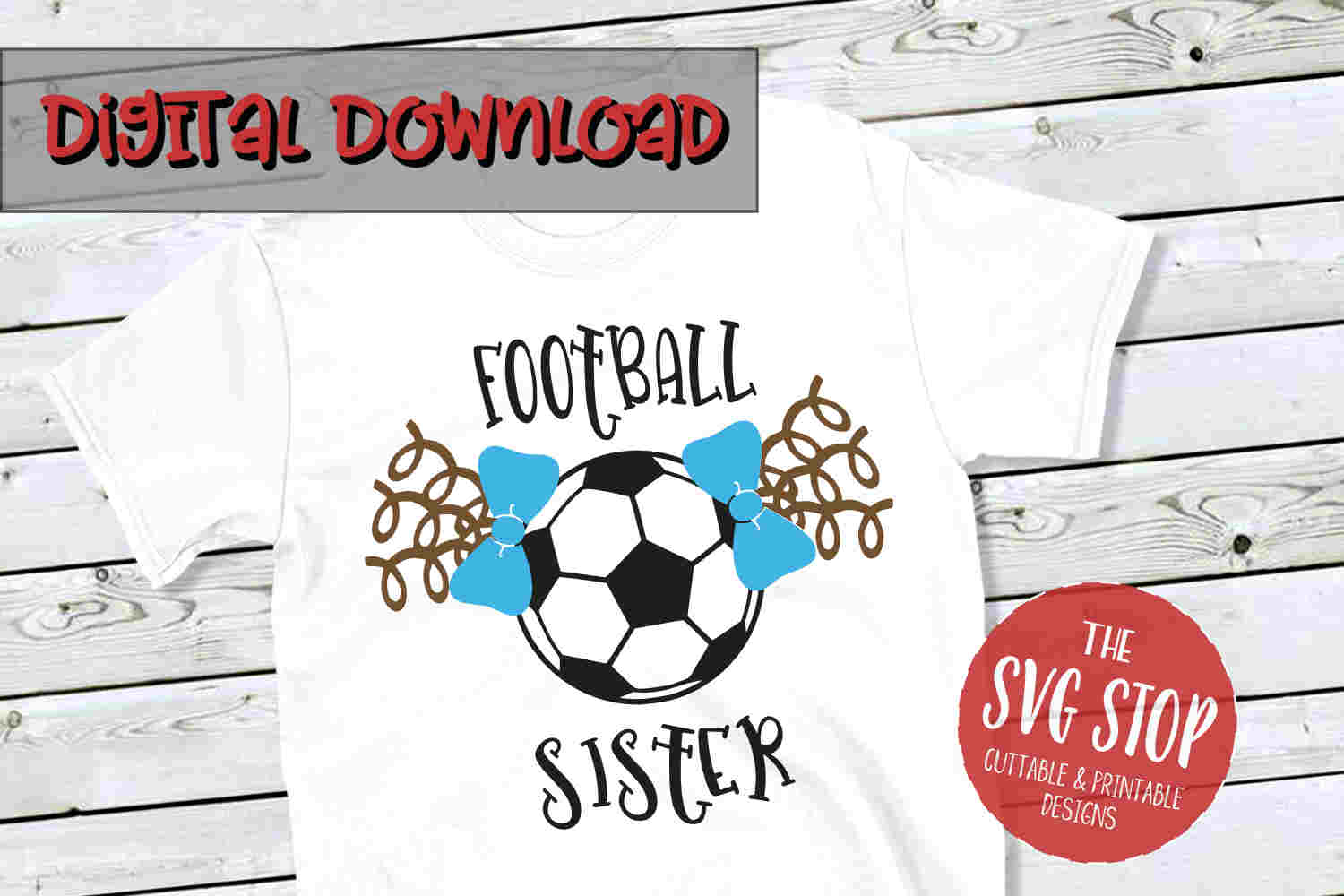 Football-Soccer Sister 2-SVG, PNG, DXF example image 1