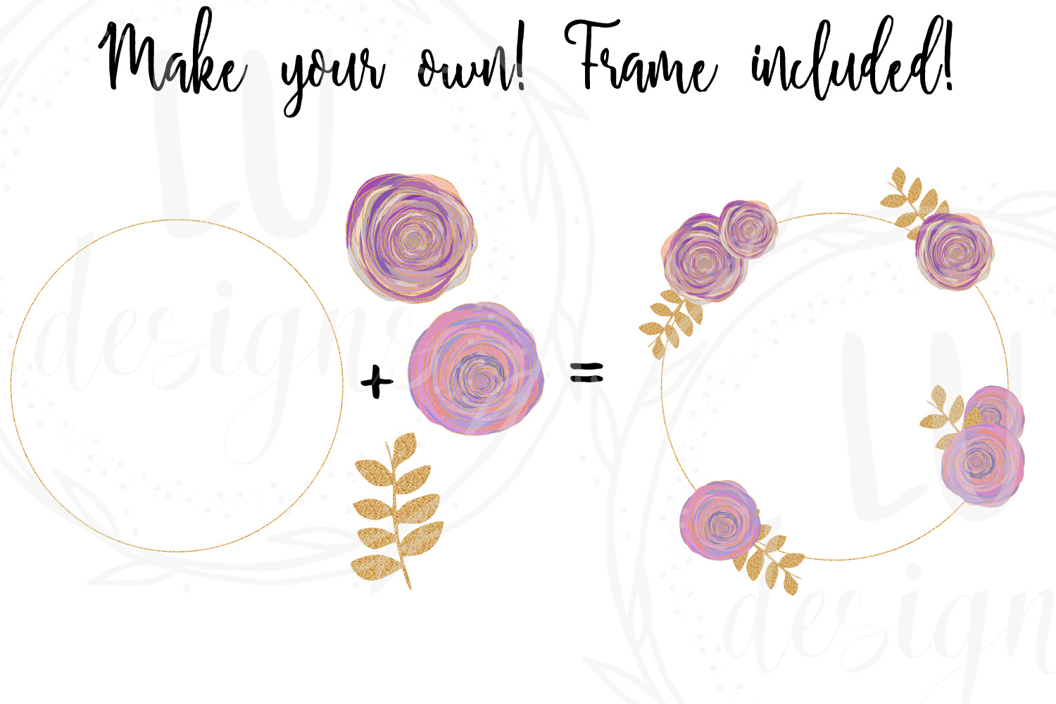 Floral and Glitter Clipart, Purple Flowers Graphics example image 6