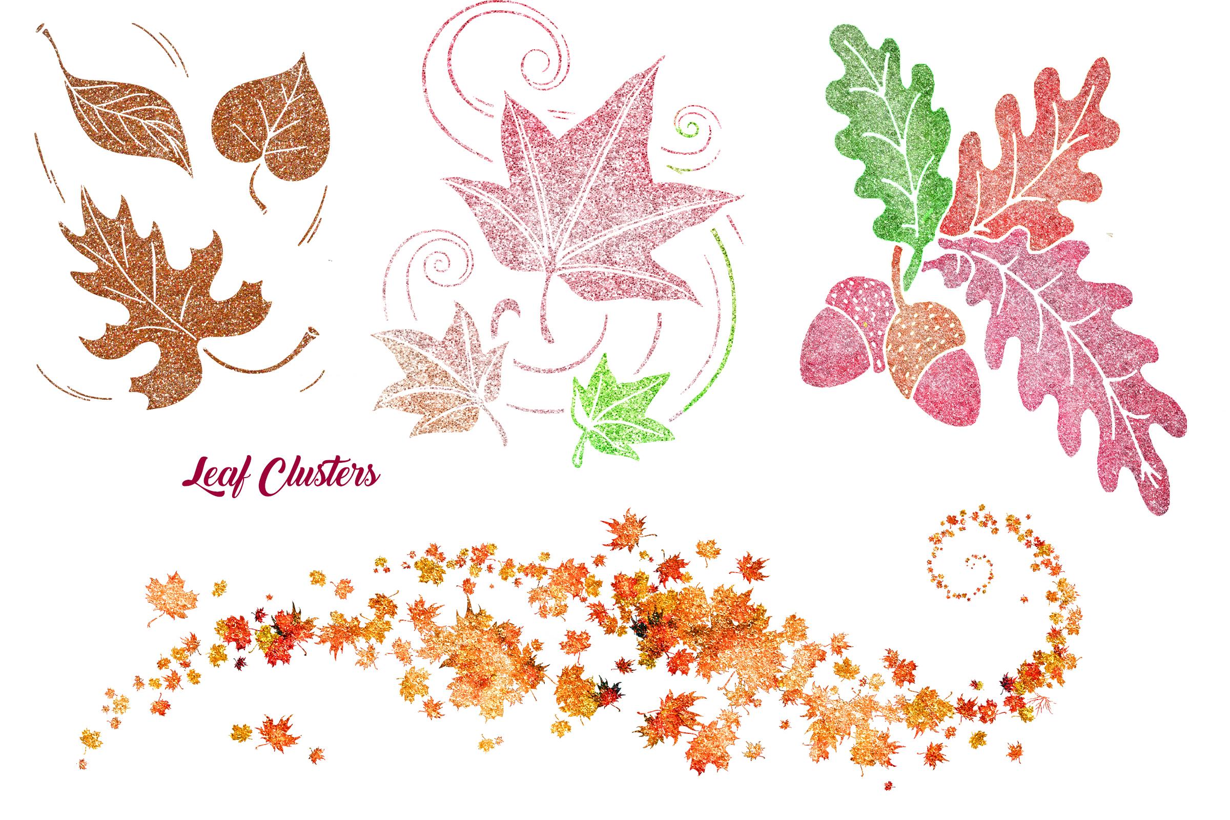 Autumn Glitter Leaf Clip Art example image 3