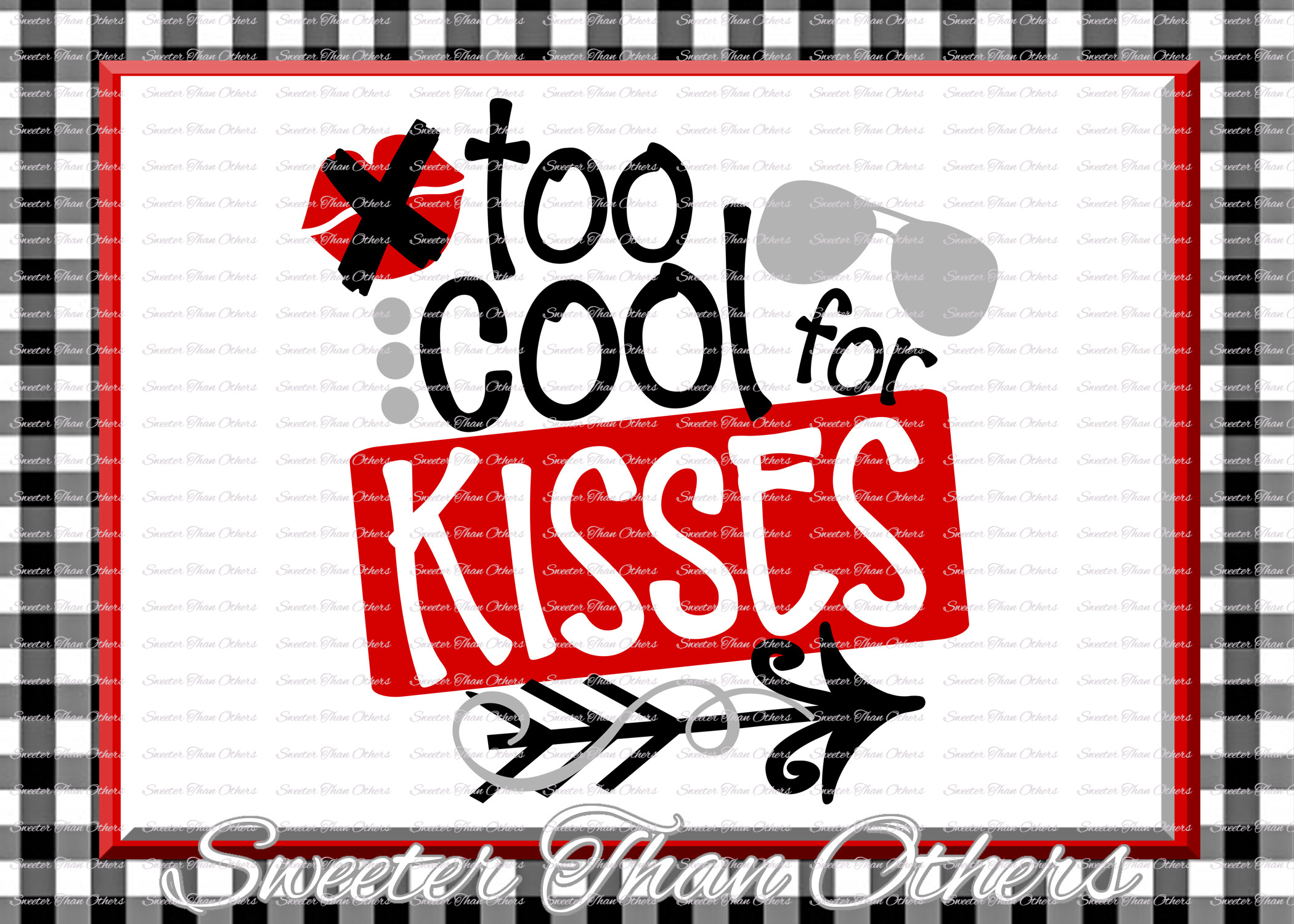 Too Cool for Kisses Svg Romeo svg, Valentines Day svg example image 1