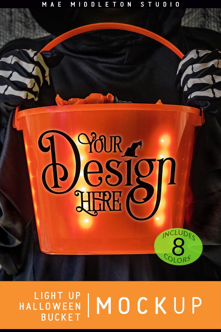 Light up Halloween Buckets - styled photo, mock ups example image 3