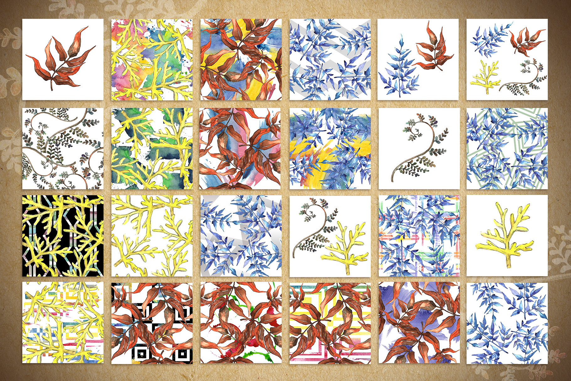 Watercolor autumn leaves png example image 8