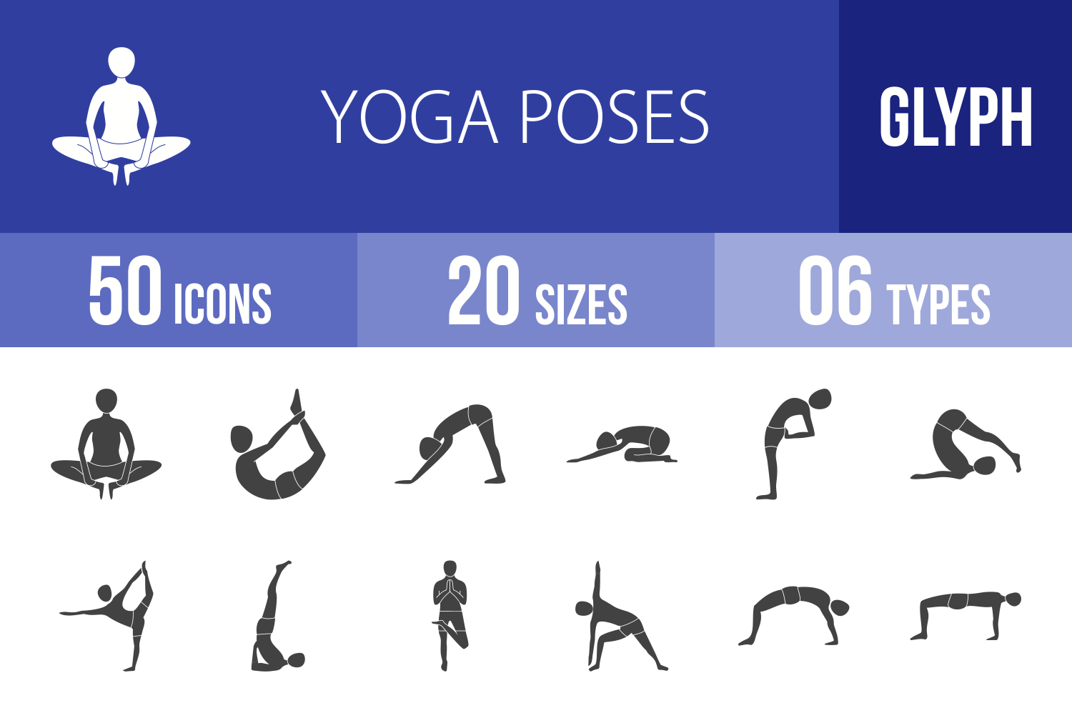 50 Yoga Poses Glyph Icons example image 1