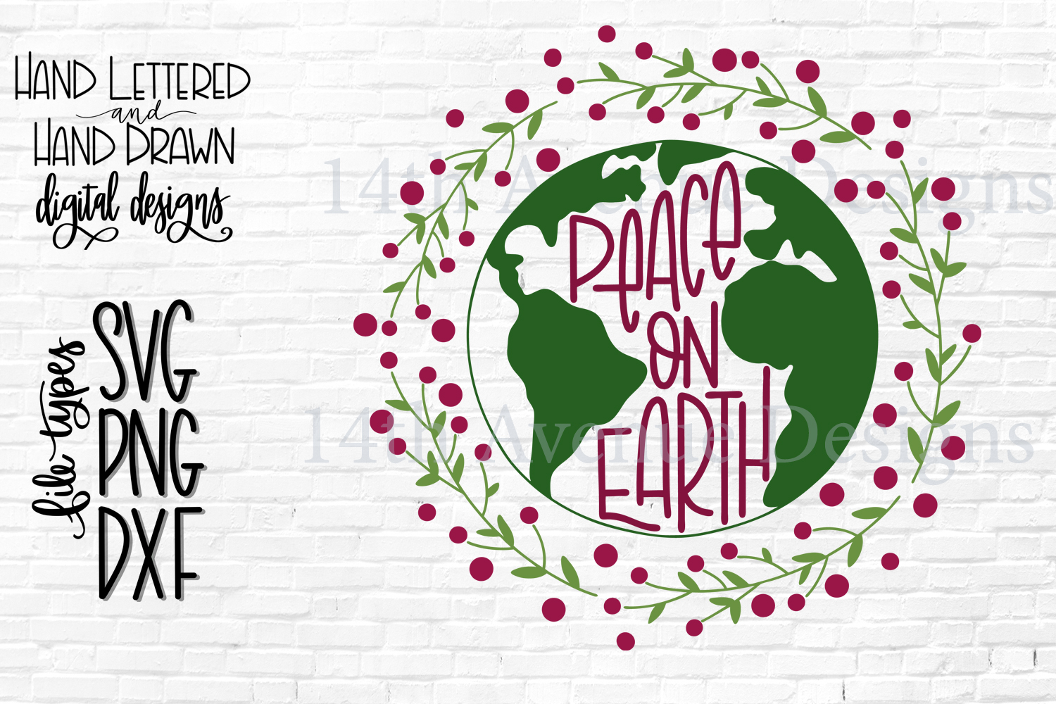 Peace on Earth SVG, Christmas SVG, Hand Lettered example image 1