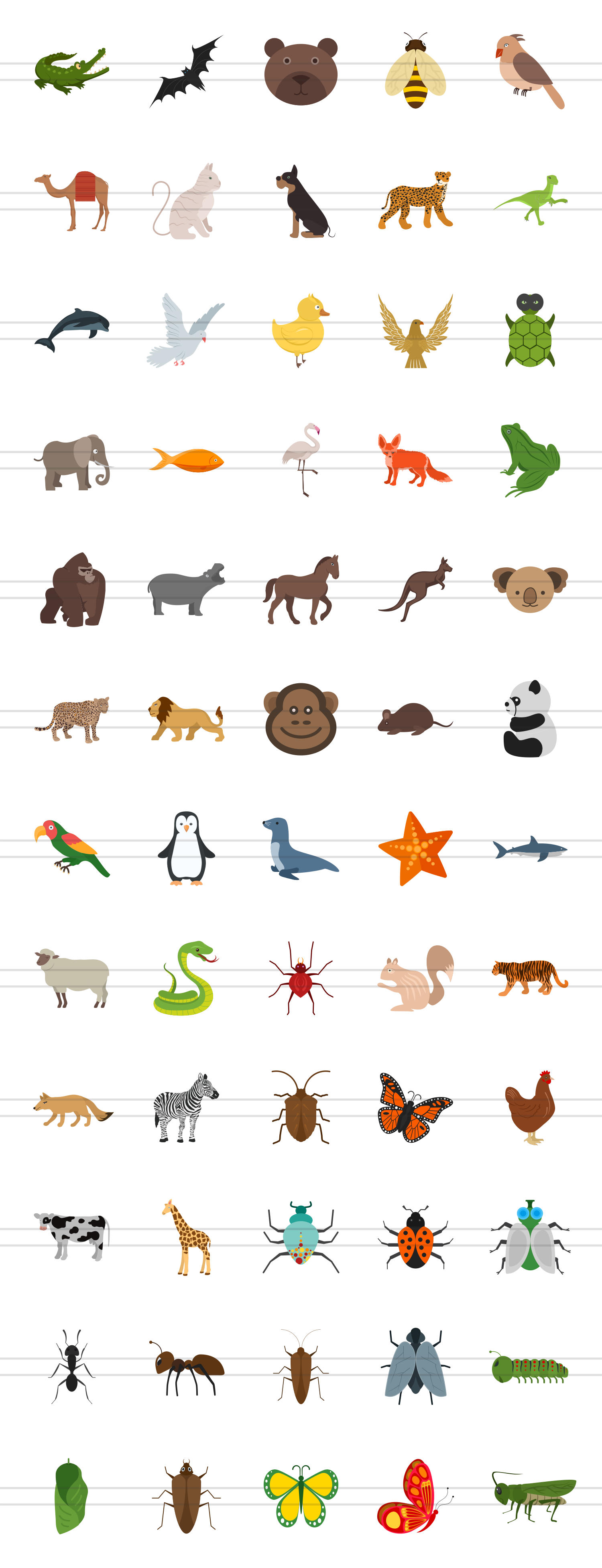 60 Animals & Insects Flat Multicolor Icons example image 2