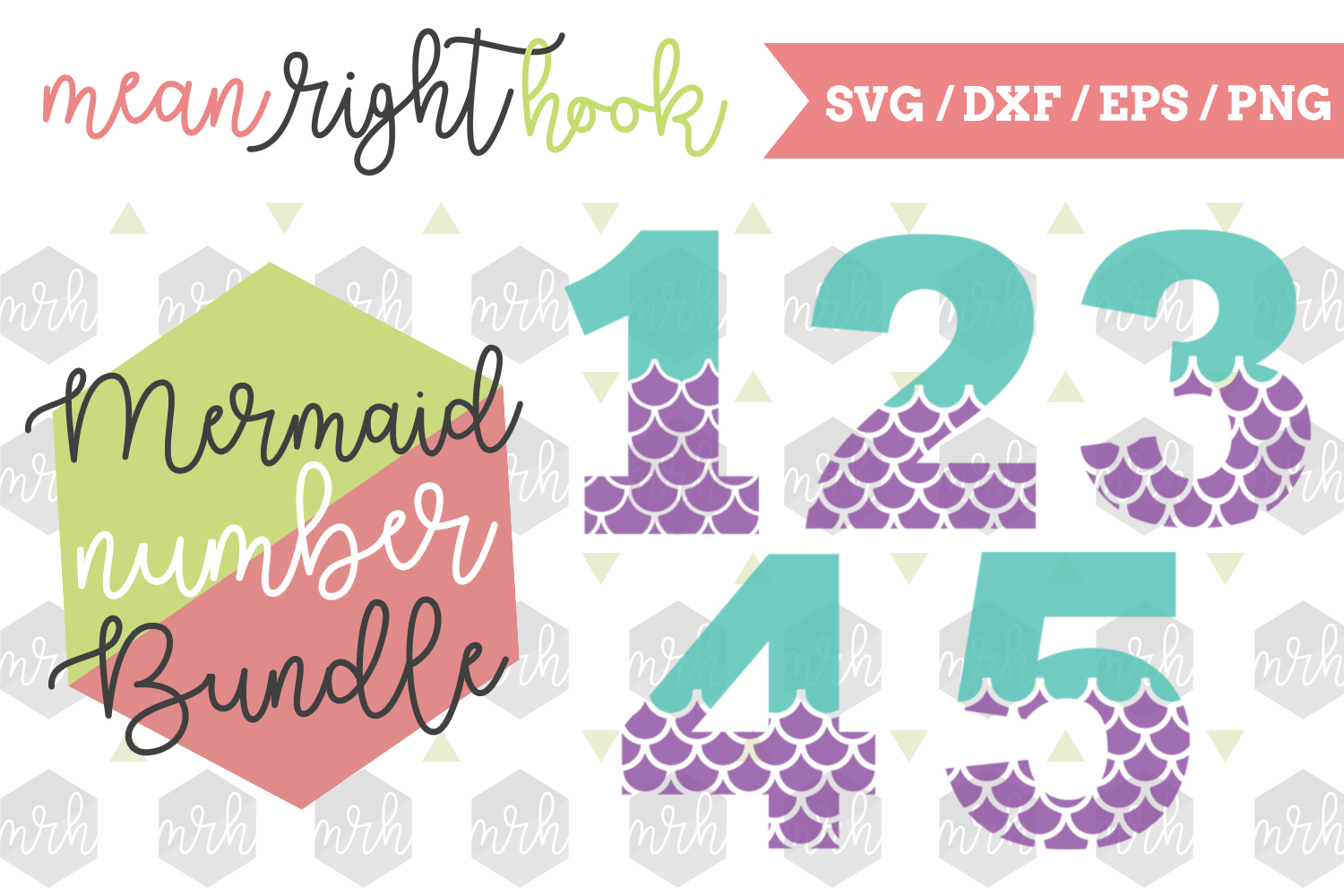 Mermaid Numbers Bundle  - SVG, EPS, DXF, PNG vector files for cutting machines like the Cricut Explore & Silhouette example image 1