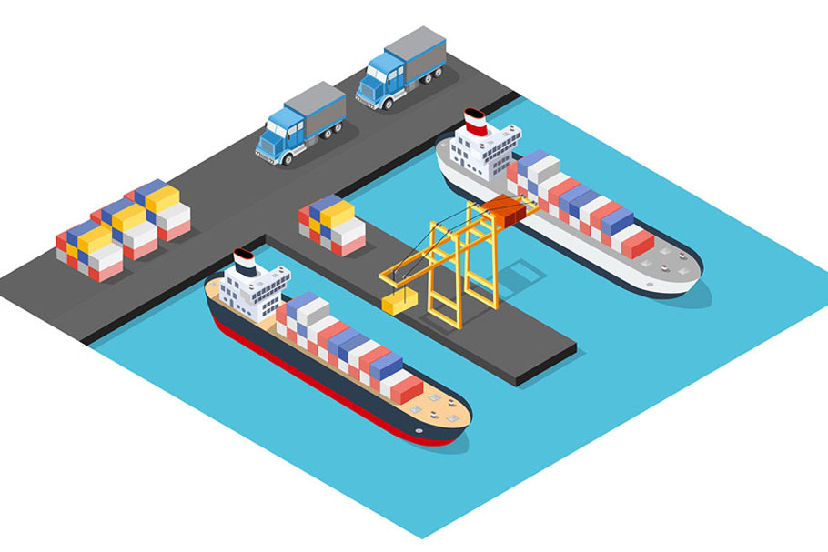 Isometric port cargo ship example image 3