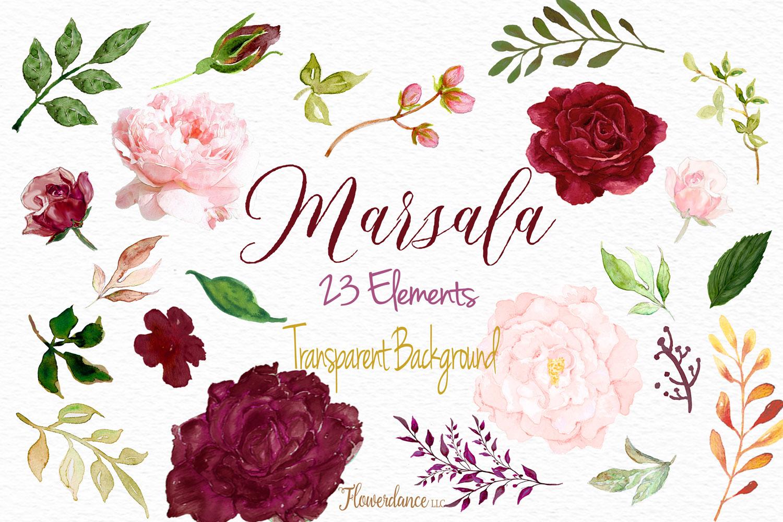Watercolor Marsala and Blush Bundle for Weddings example image 5