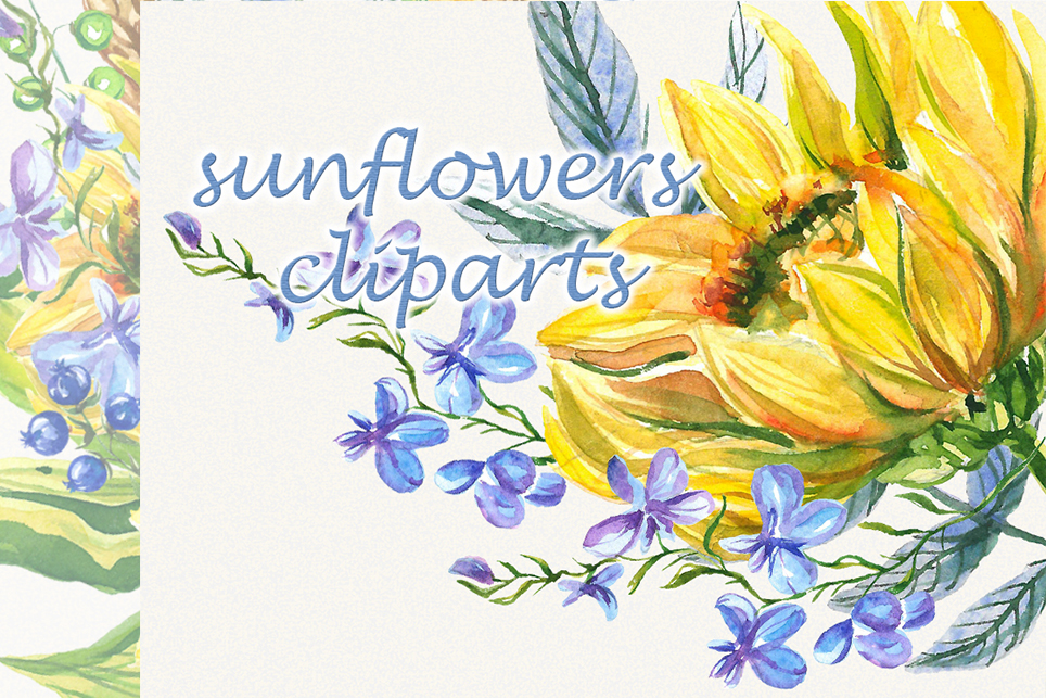 Sunflower clipart, sunflower watercolor clipart, floral example image 3