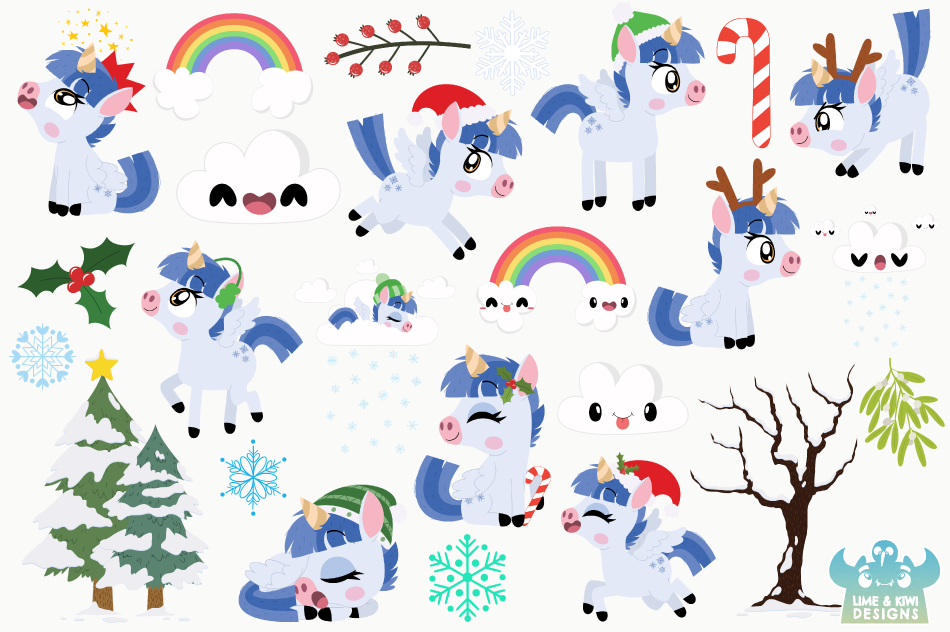 Christmas Unicorns 1 Clipart, Instant Download Vector Art example image 2