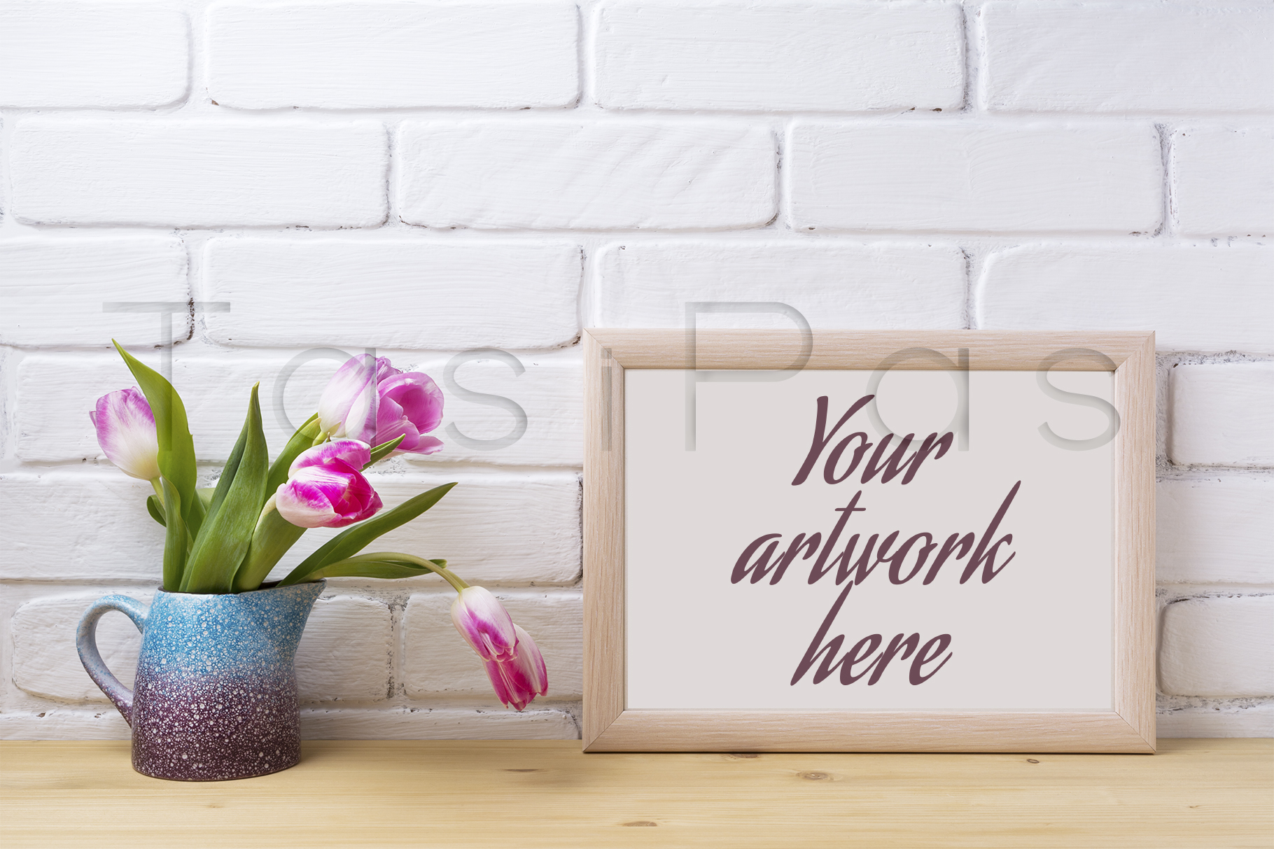 Wooden landscape frame mockup with pink tulip in purple pitcher. example image 3