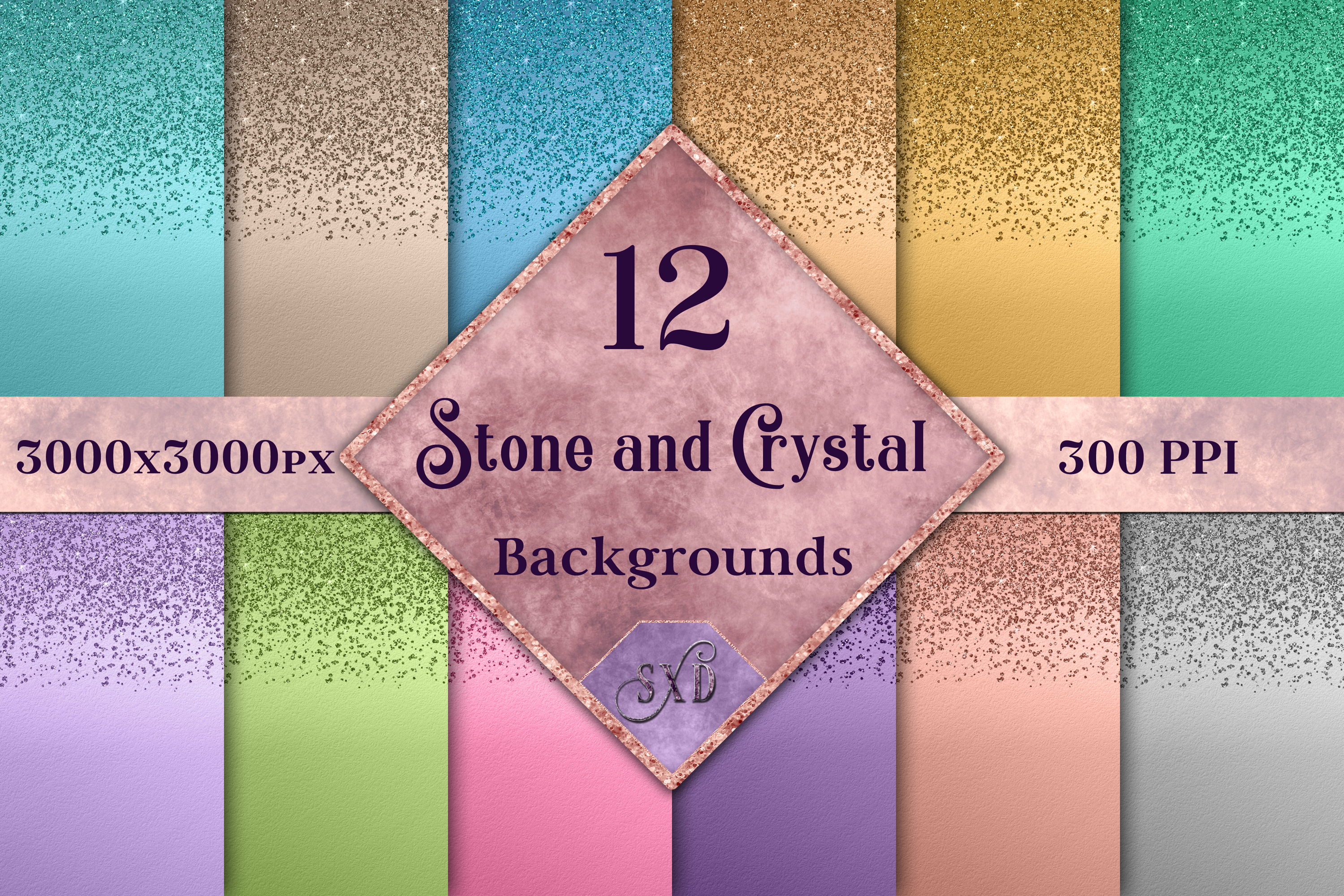 Stone and Crystal Backgrounds - 12 Image Textures Set example image 1