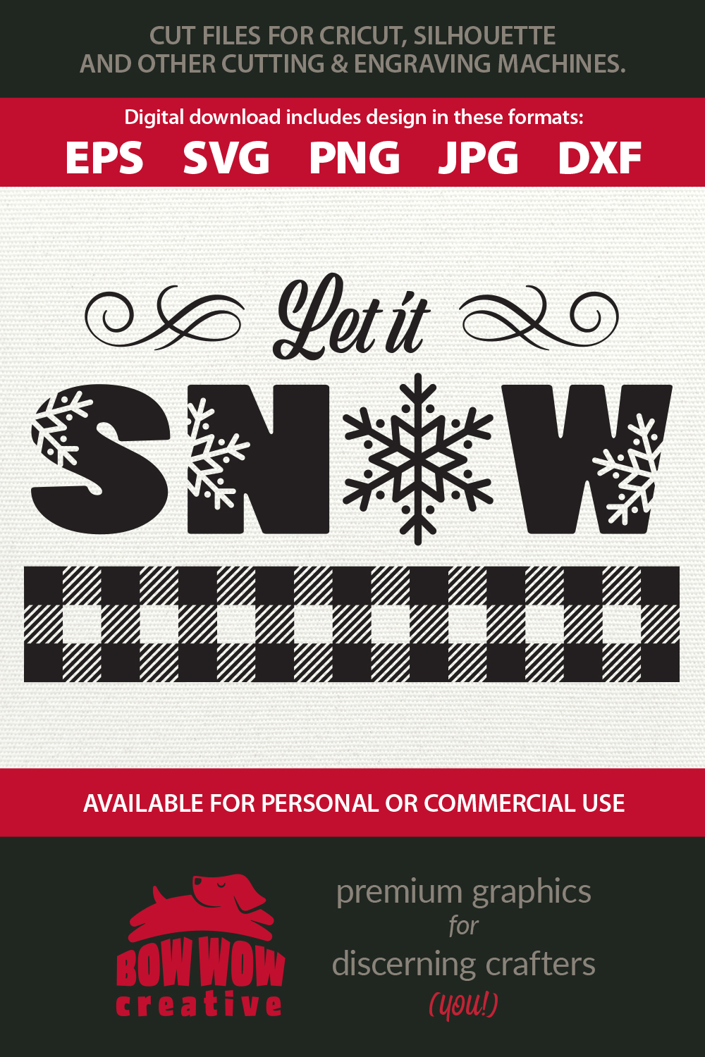 Let it Snow - SVG, EPS, JPG, PNG, DXF example image 2