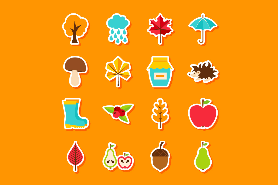 Autumn Flat Icons example image 3