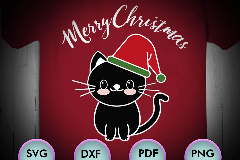CAT SVG XMAS, Cat Christmas, black cat, cat happy christmas example image 1