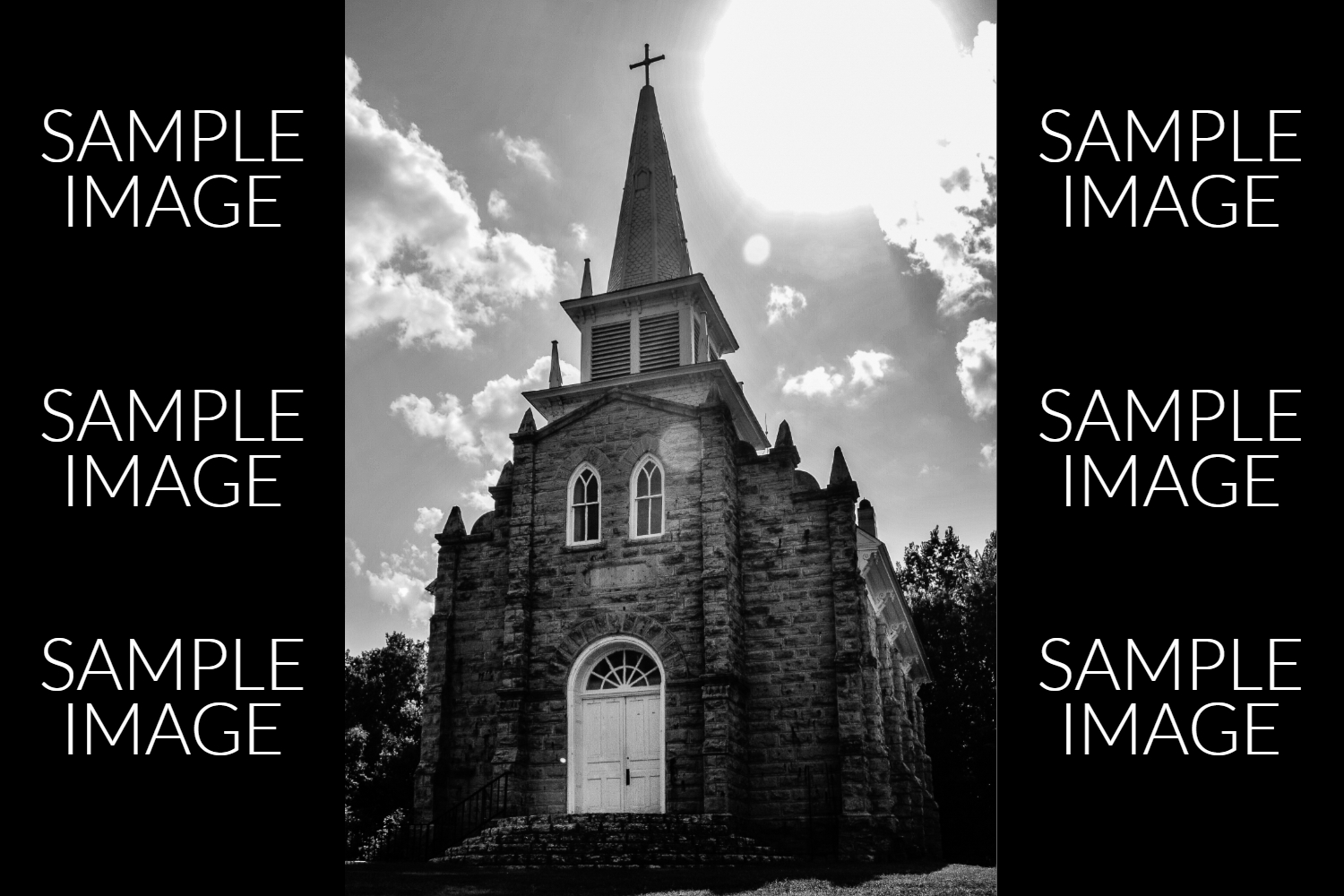 Black and White Old Fashioned Stone Church example image 1