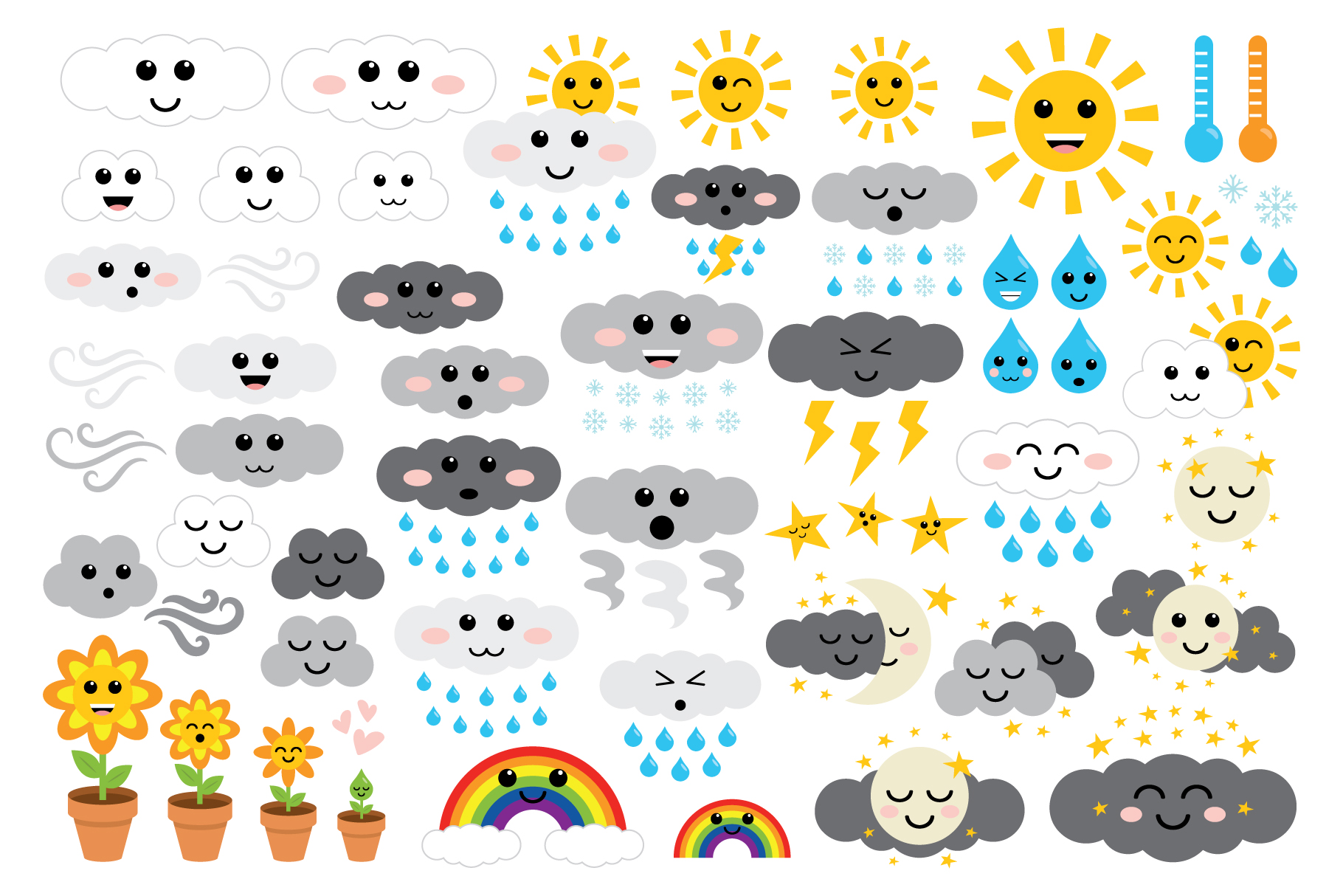 Cute Weather Clip Art Set example image 2