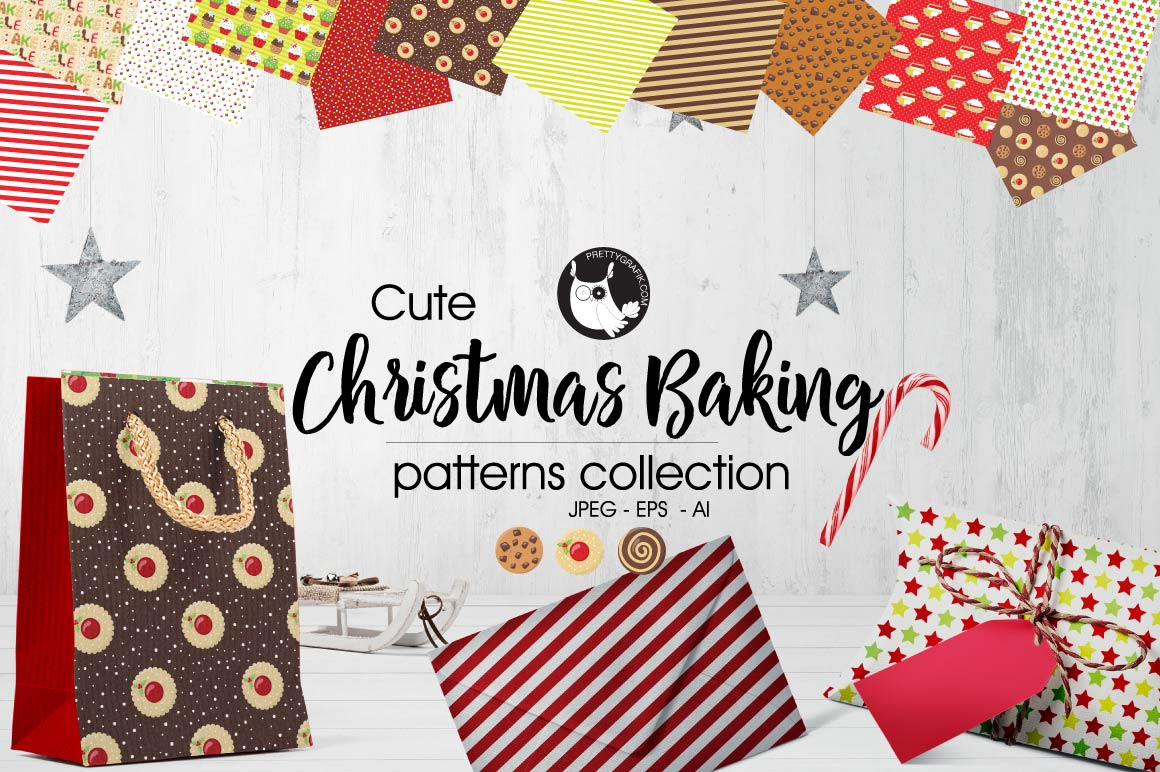 CHRISTMAS-BAKING , digital papers example image 1