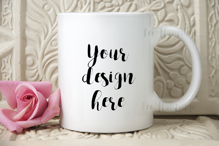 White coffee mug mock up feminine romantic floral valentines cup mockup example image 2