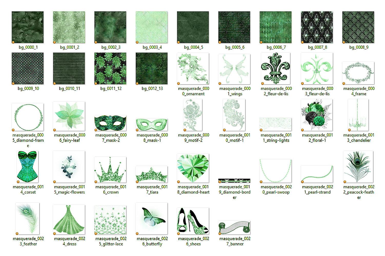 Green Masquerade Digital Scrapbooking Kit example image 3