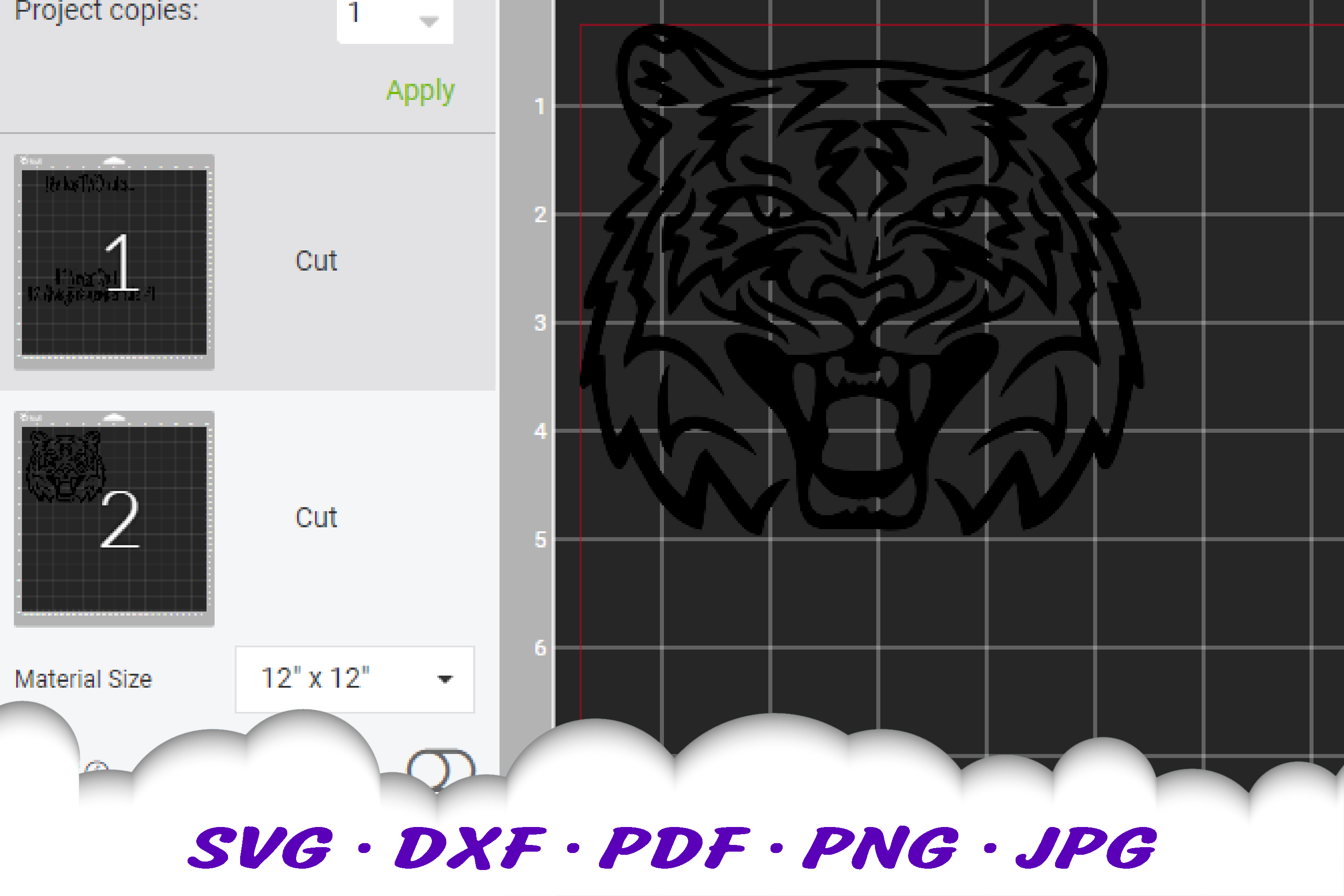 Never Quit Motivational Tiger SVG DXF Cut Files example image 3