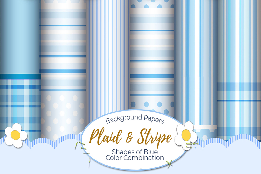 54 Plaid,Stripe & Dots on Blue Shades JPG Background Papers example image 15