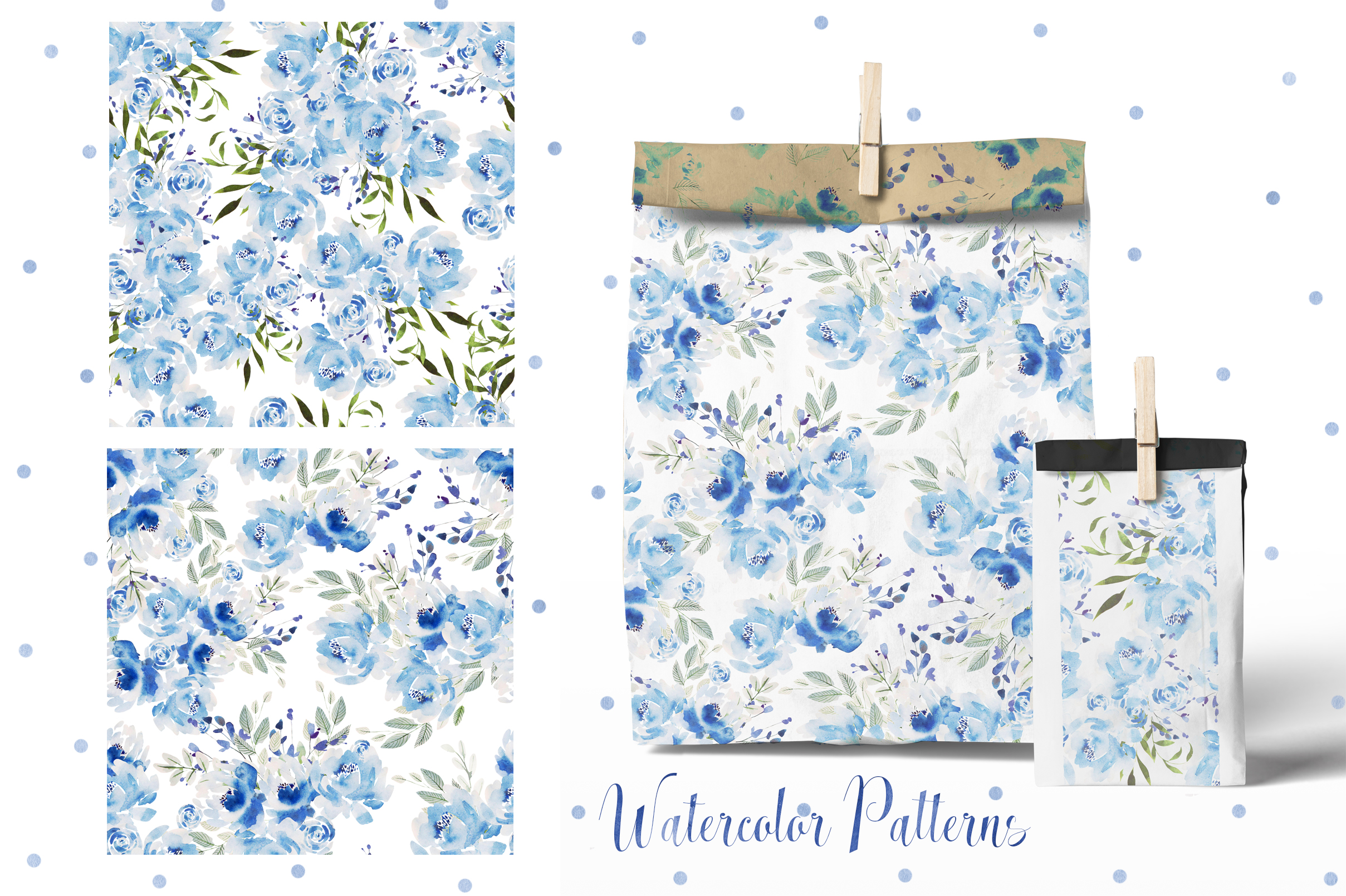 Watercolor BLUE FLOWERS example image 6