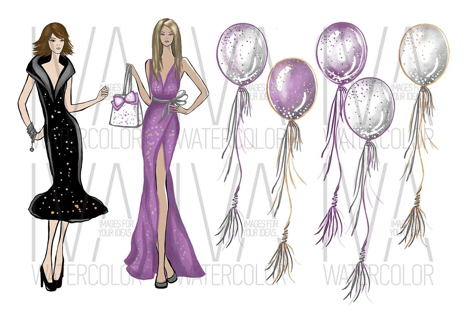 New Year's Eve Clipart, Fashion Illustration example image 4