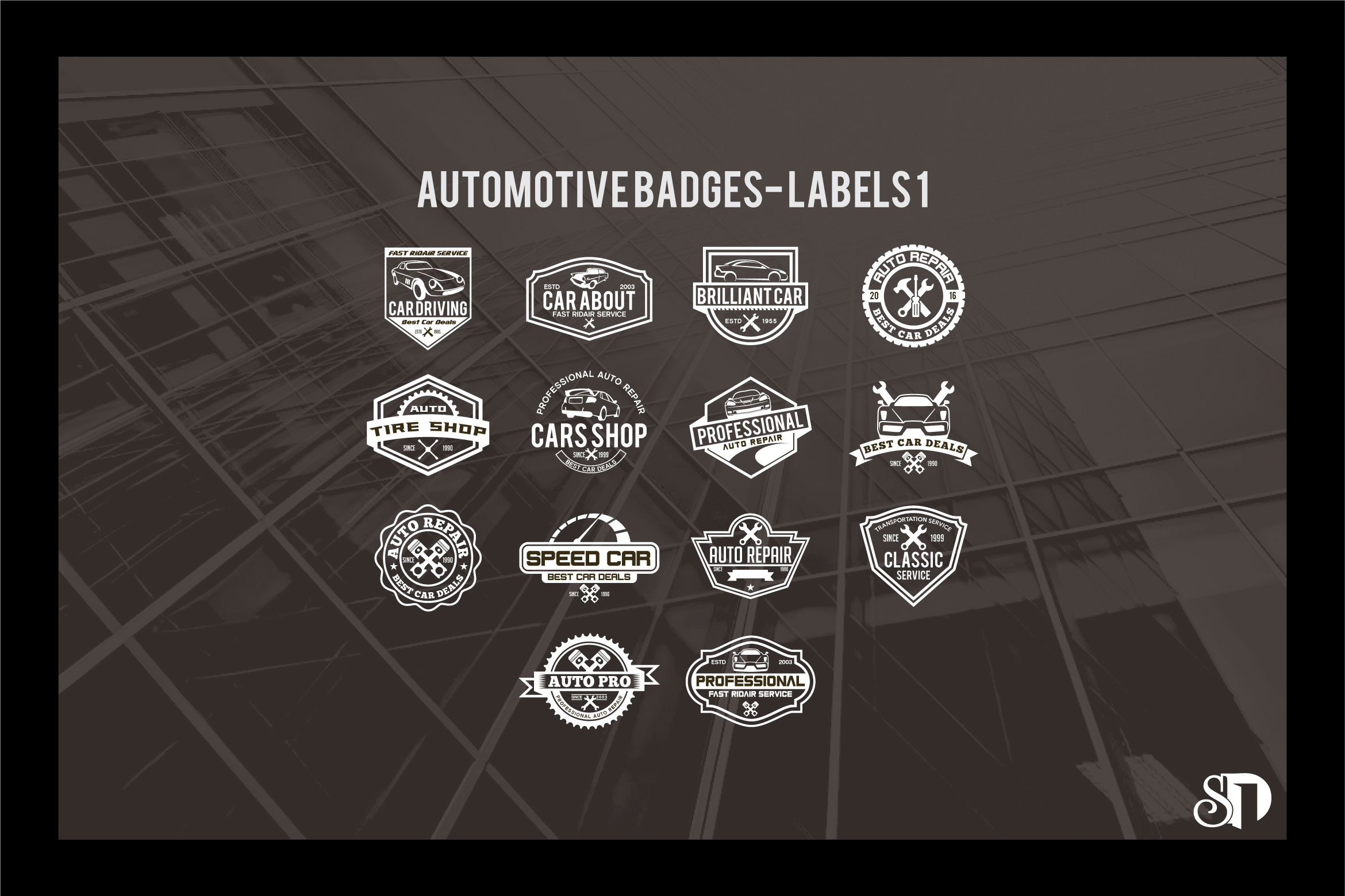 automotive badges and labels vol1 example image 1