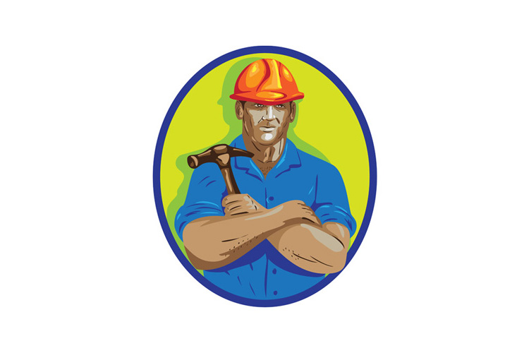 Construction Worker Foreman Arms Crossed WPA example image 1