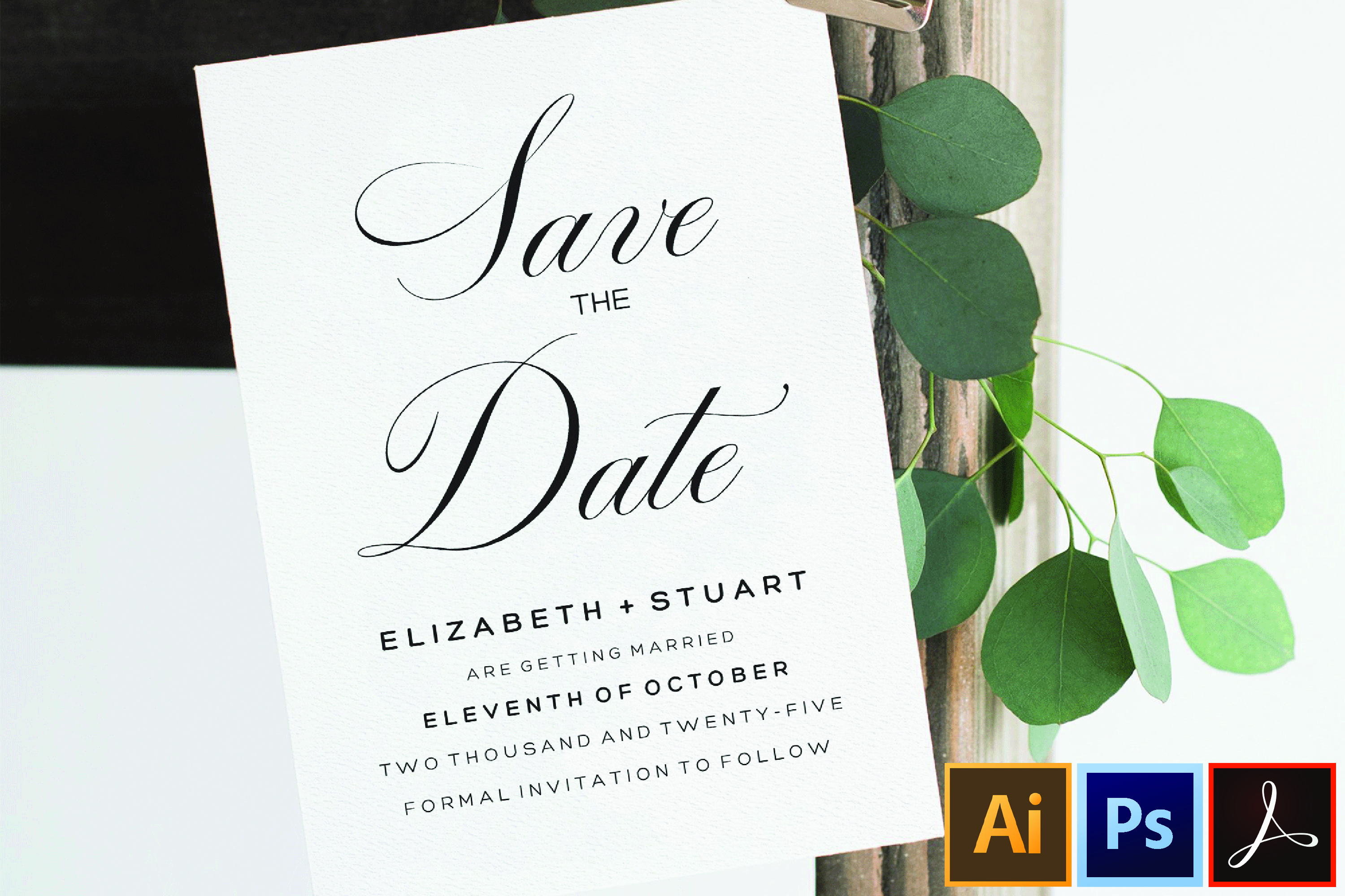 Editable Save The Date Template, Printable Save The Dates example image 1